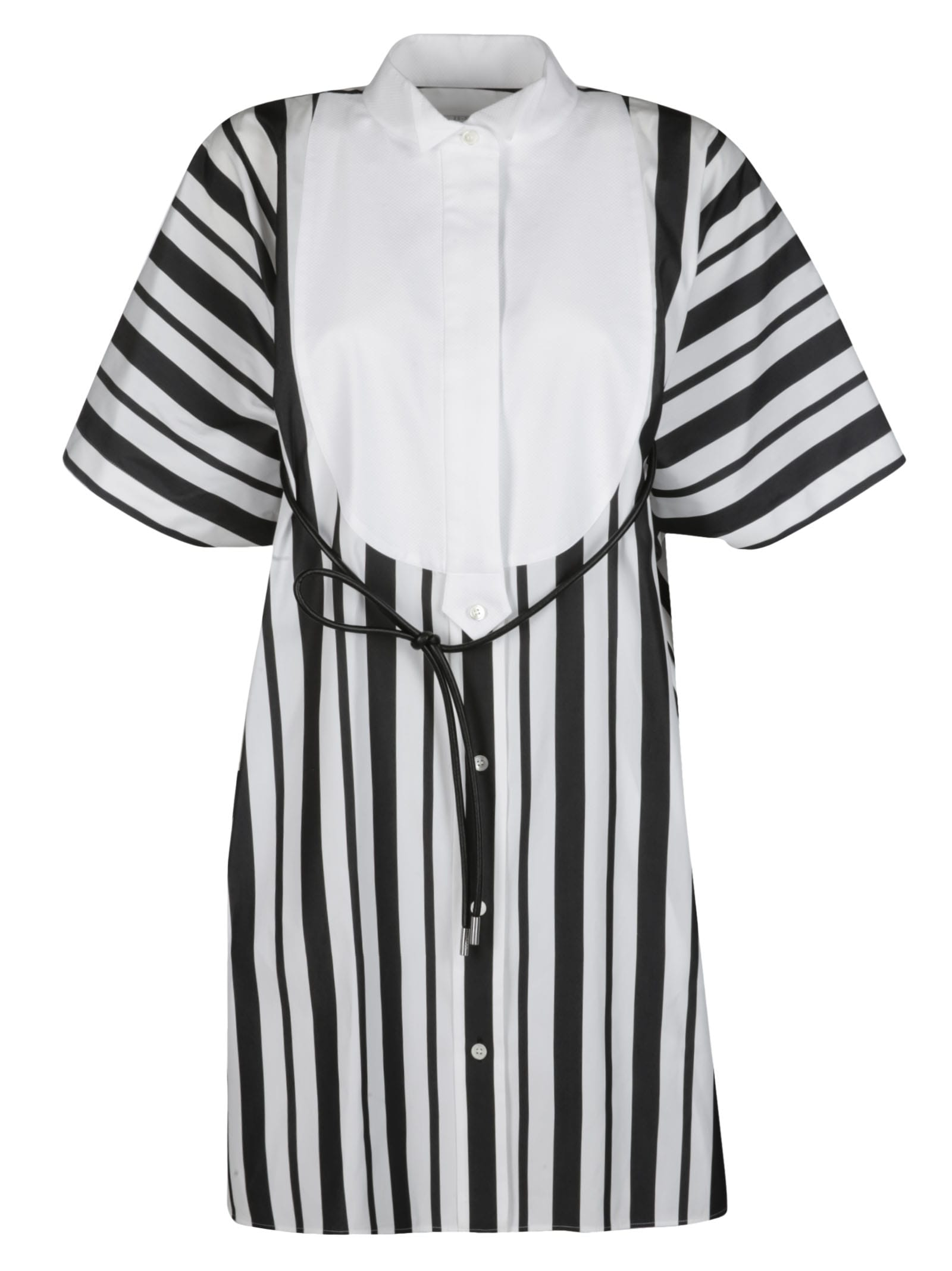 Buy Sacai Black And White Cotton Blend Dress online, shop Sacai with free shipping
