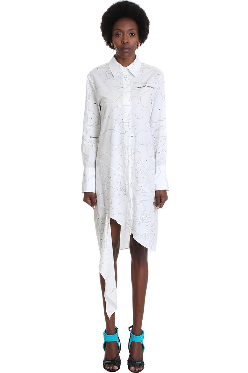 Buy Off-White Puzzle Spiral Dress In White Cotton online, shop Off-White with free shipping