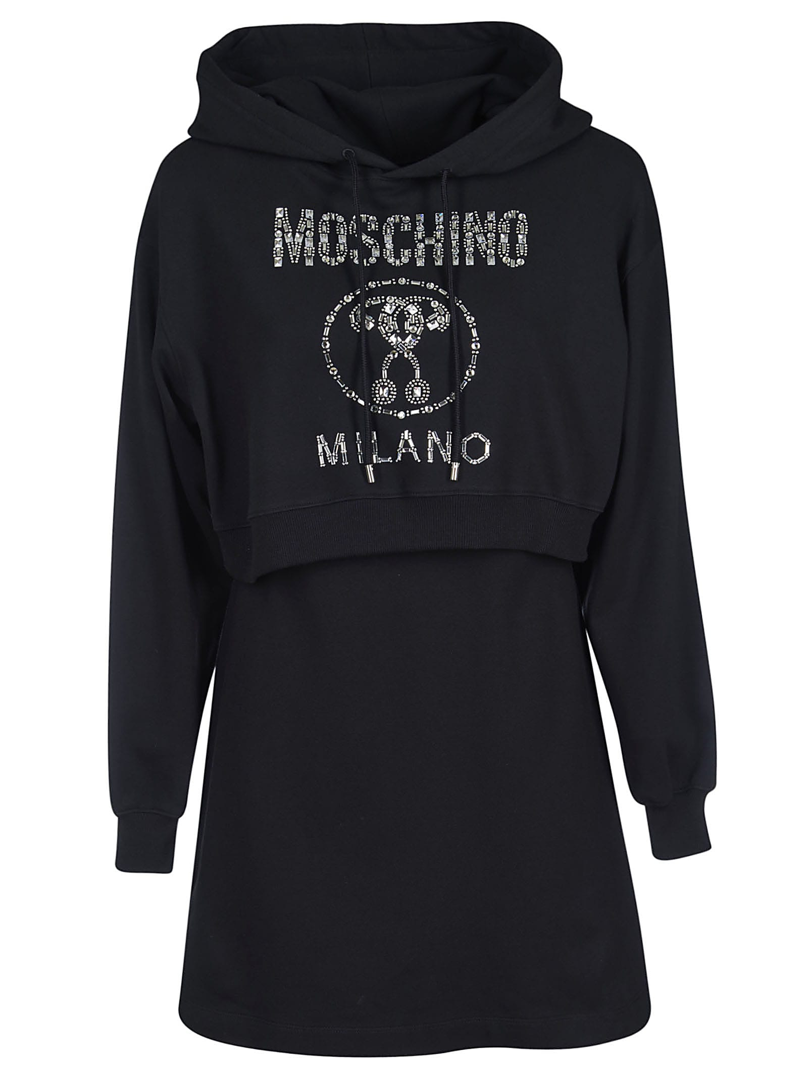 Moschino Logo Embellished Hoodie Dress