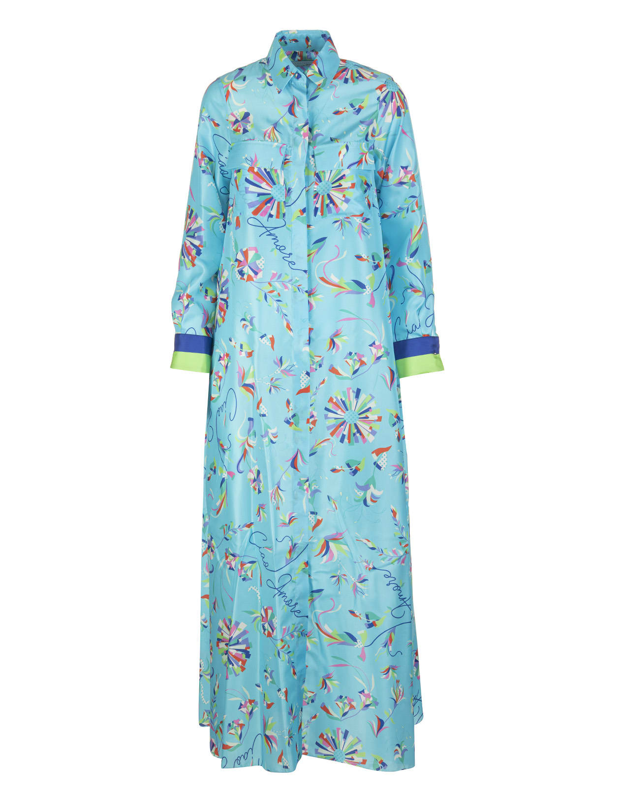Printed Long Chemisier Dress With V-neck