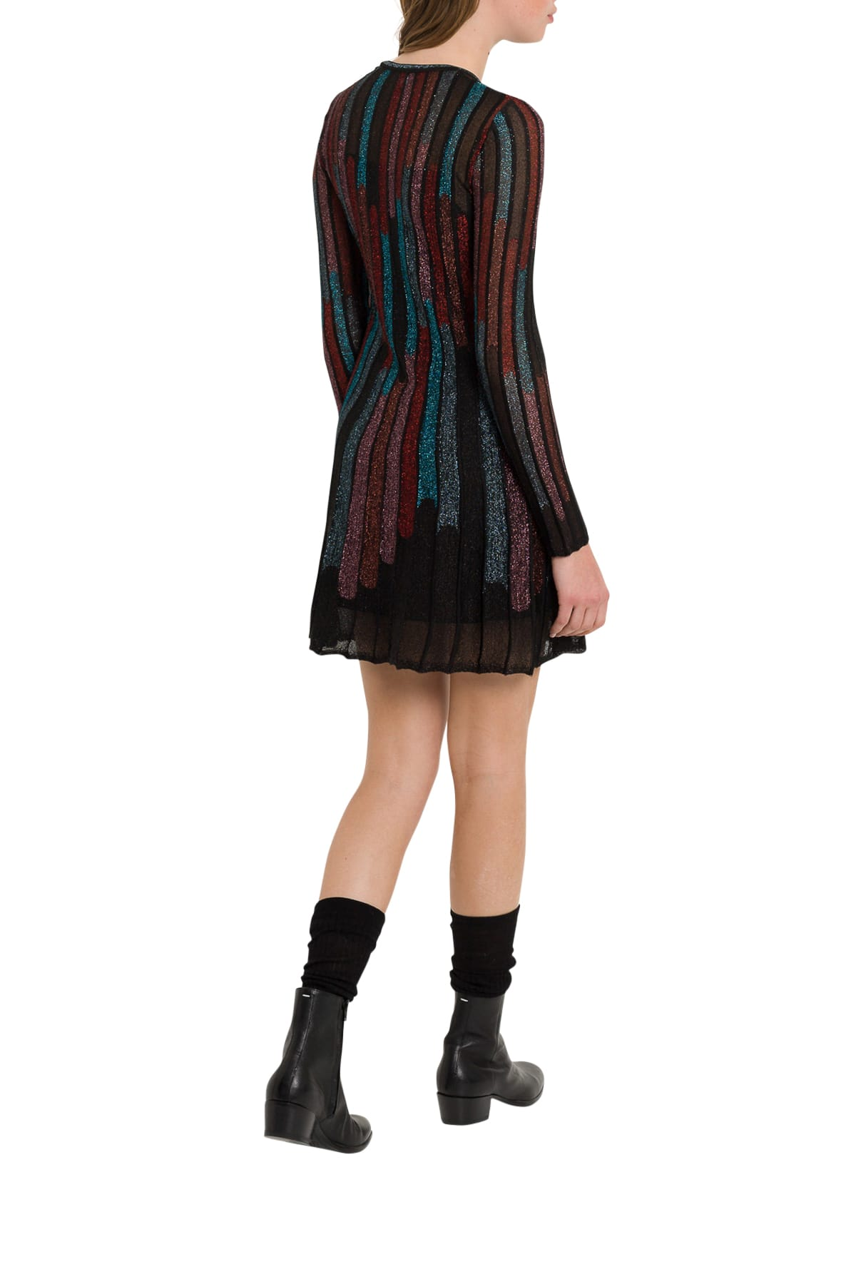 M Missoni Striped Multicolour Midi Dress In Lurex Knit