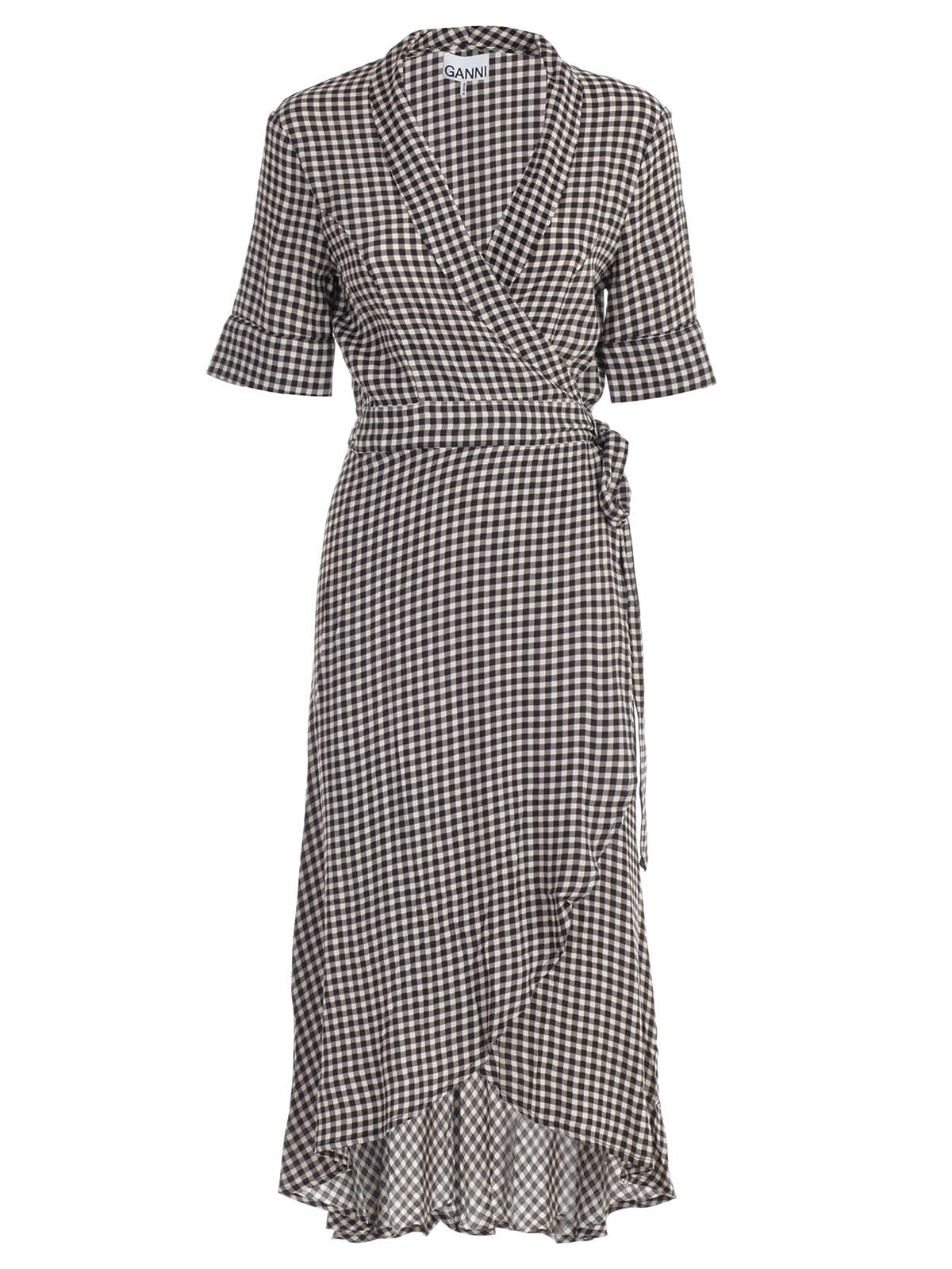 Ganni Dress L & s Check