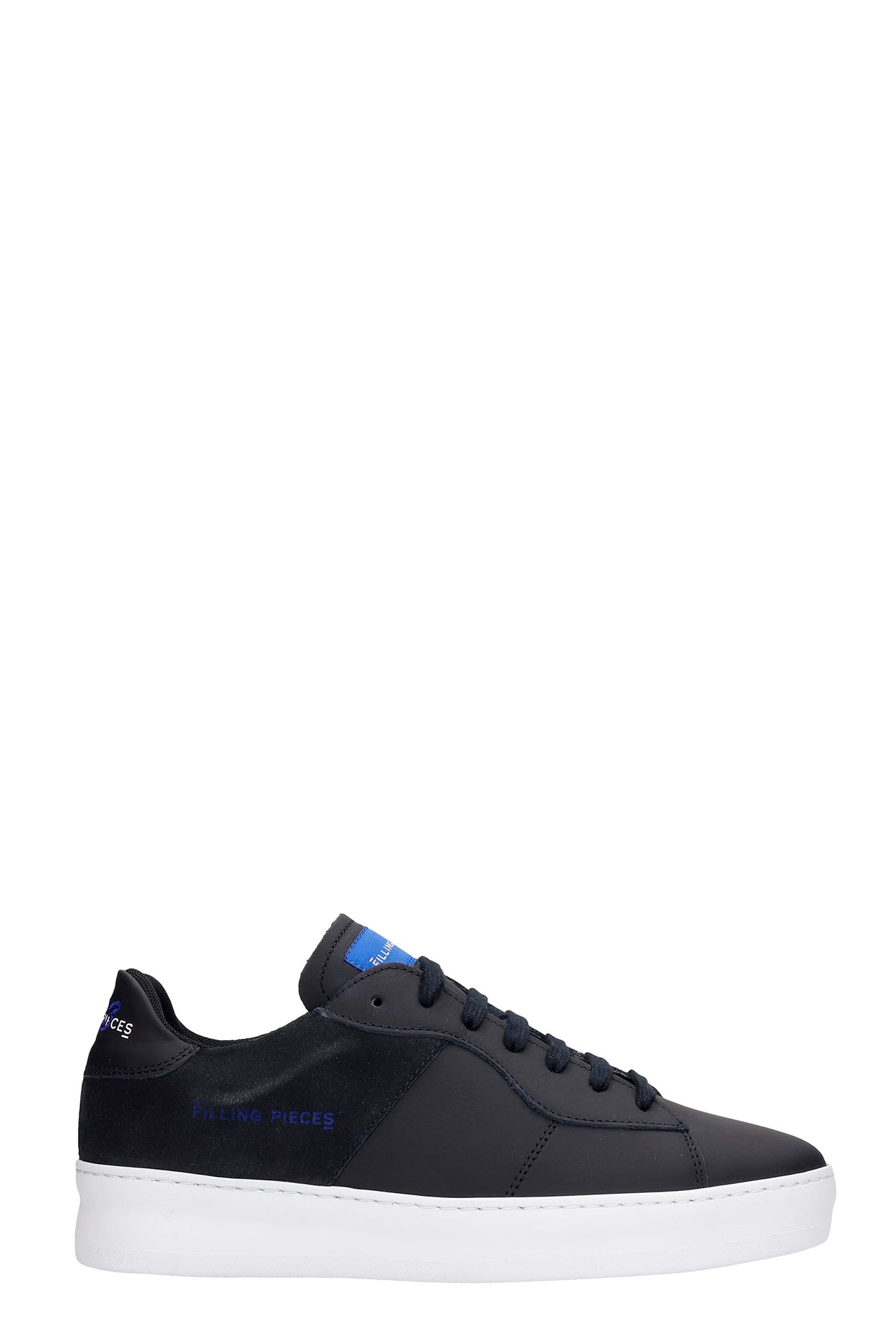 Low Plain Court Sneakers In Black Suede And Leather