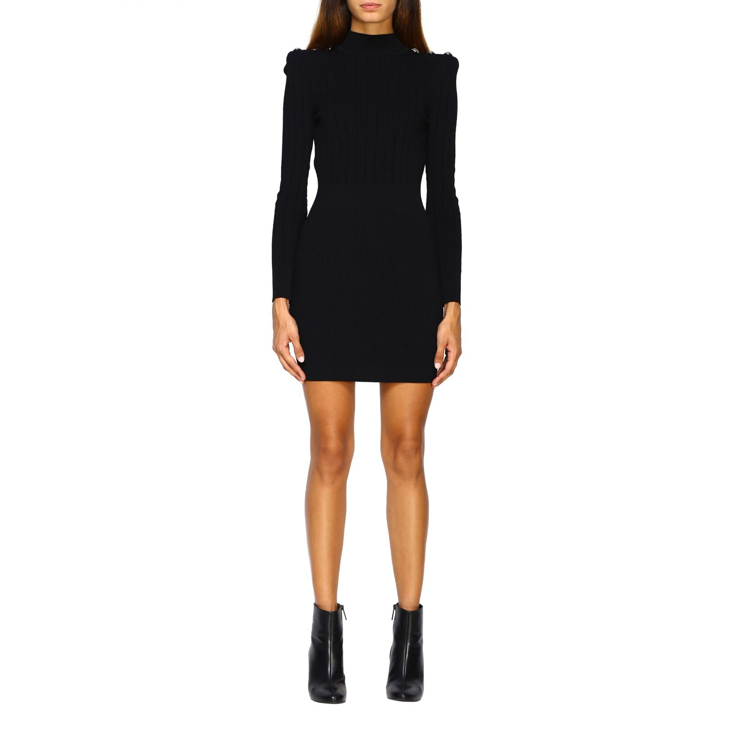 Buy Balmain Dress Balmain Knit Dress With Jewel Buttons online, shop Balmain with free shipping