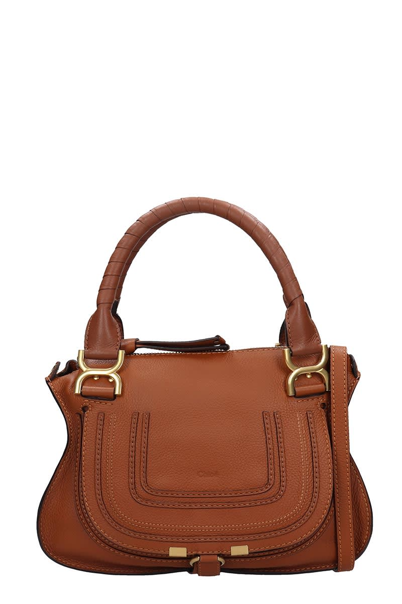 Mercie small Hand bag in leather color leather, Height 240 mm, Width 305 mm, handle, shoulder strap, stitching detail, magnetic closure, gold hardwareComposition: Leather