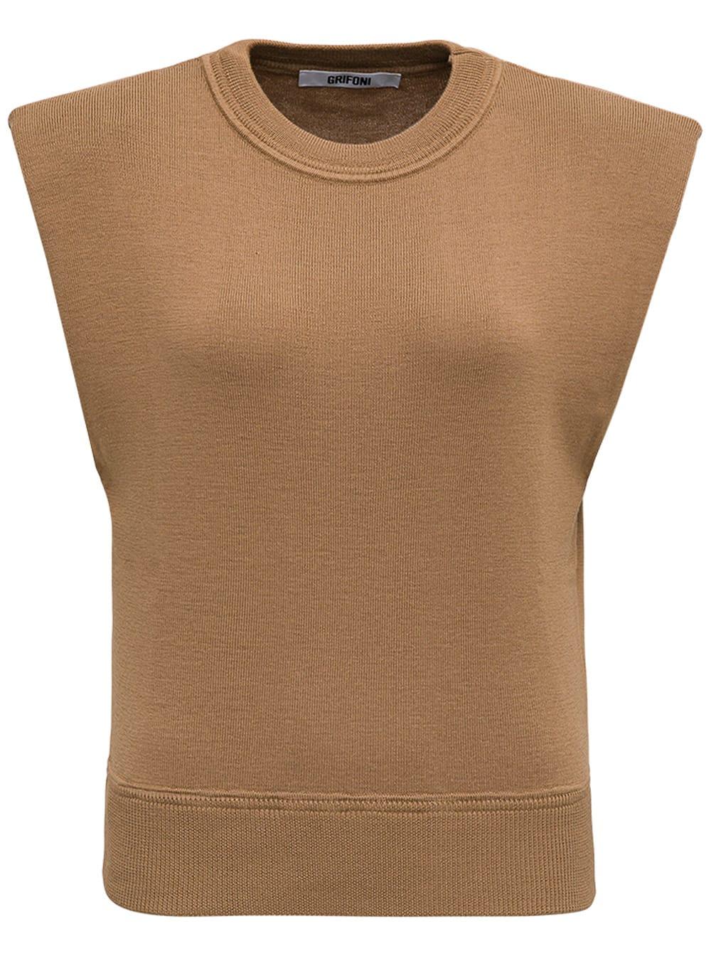 Brown Wool Vest With Padded Shoulder Straps