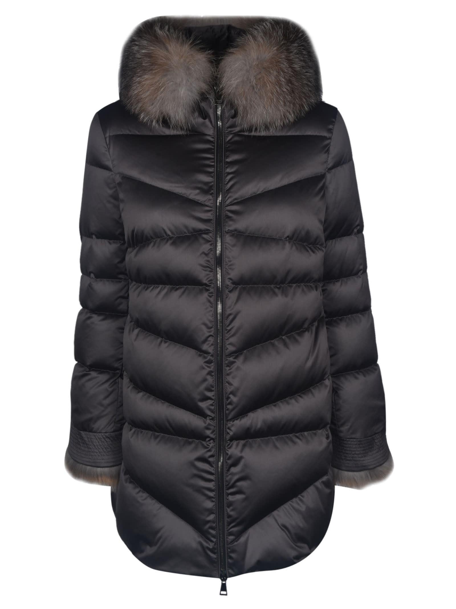 Moncler Fur Collar Padded Long Parka
