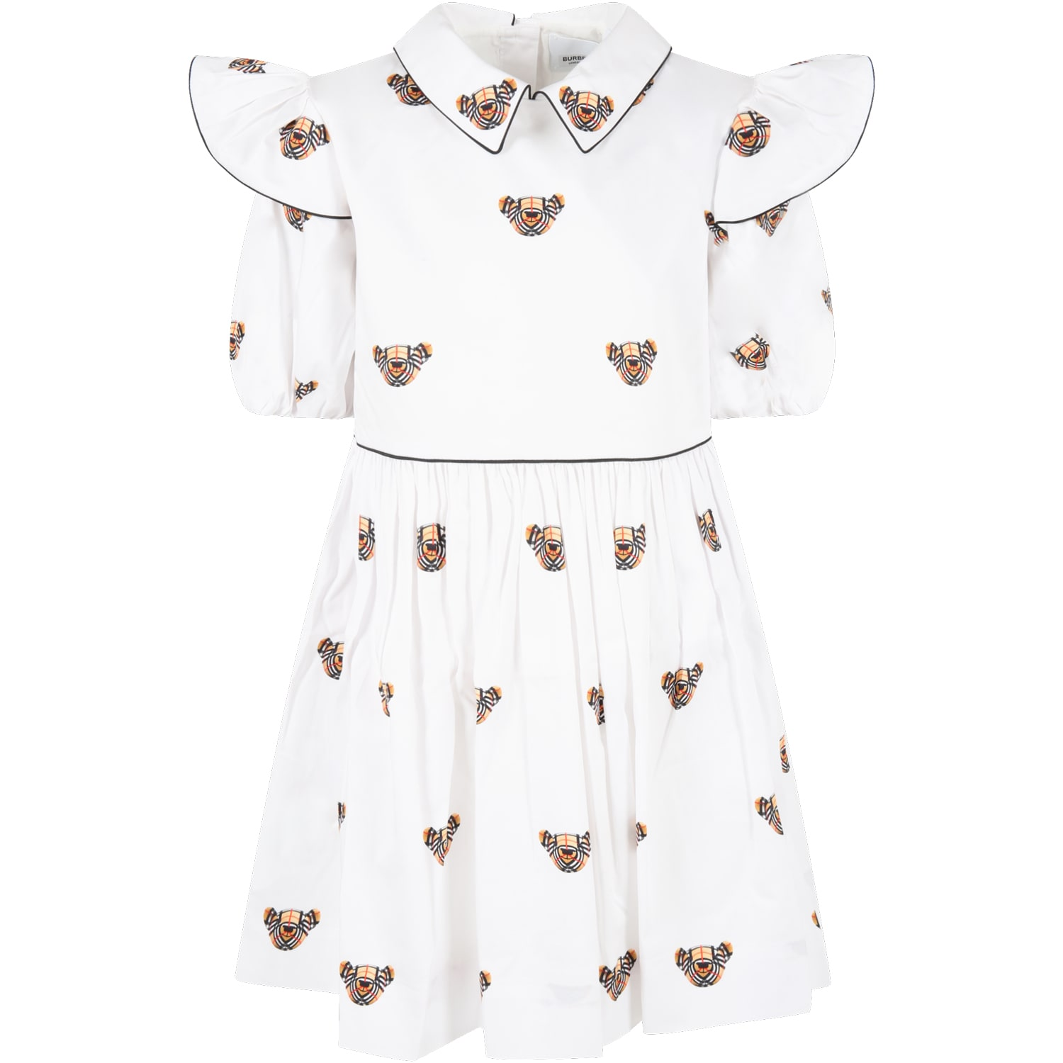Burberry White Dress For Girl With Thomas Bear