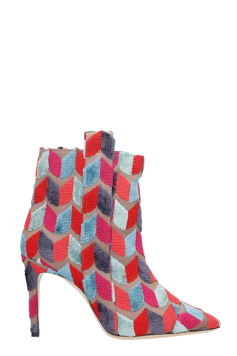 Bams High Heels Ankle Boots In Rose-pink Wool