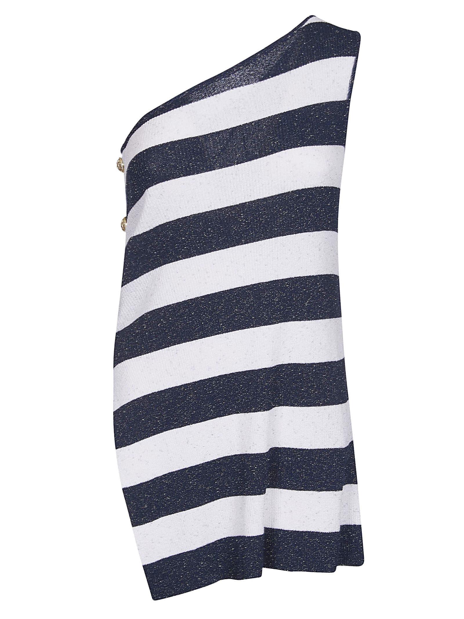 Buy Balmain Stripe One-shoulder Dress online, shop Balmain with free shipping