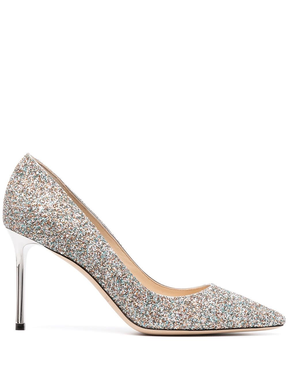 Buy Jimmy Choo Romy Glittered Pumps online, shop Jimmy Choo shoes with free shipping