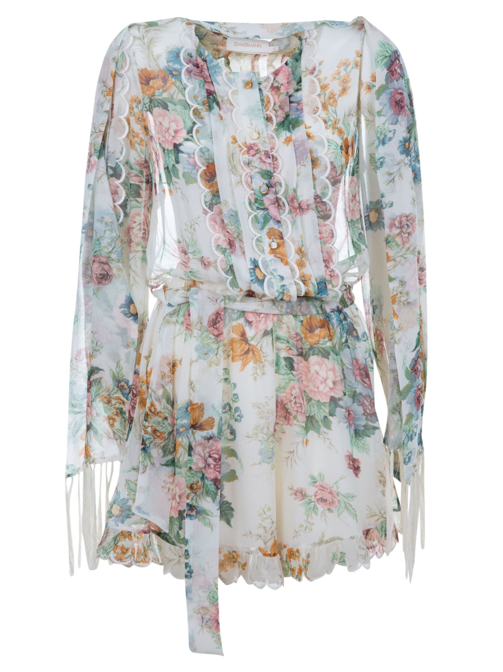 Buy Zimmermann Wavelength Scallop Playsuit Dress online, shop Zimmermann with free shipping