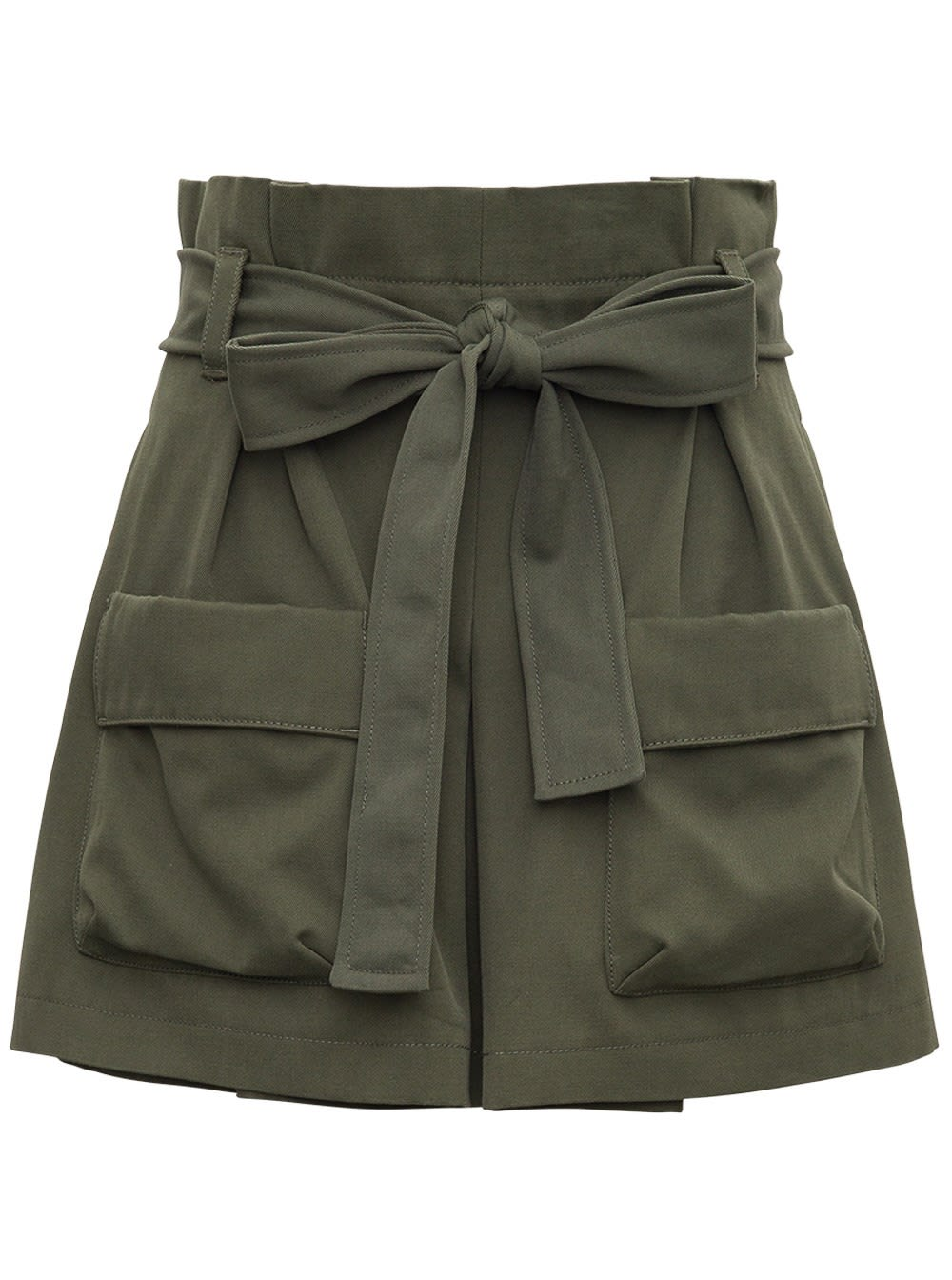 Red Valentino CARGO SHORTS IN GREEN COTTON GABARDINE