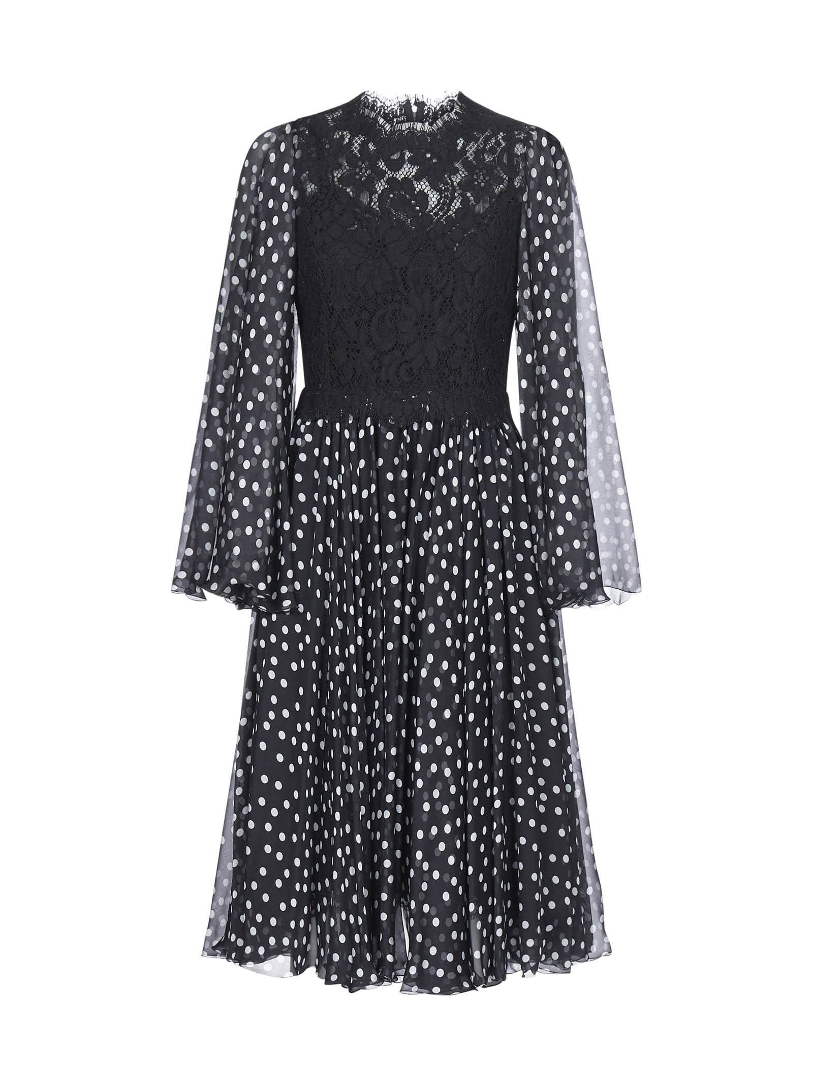 Buy Dolce & Gabbana Pois And Lace Dress online, shop Dolce & Gabbana with free shipping