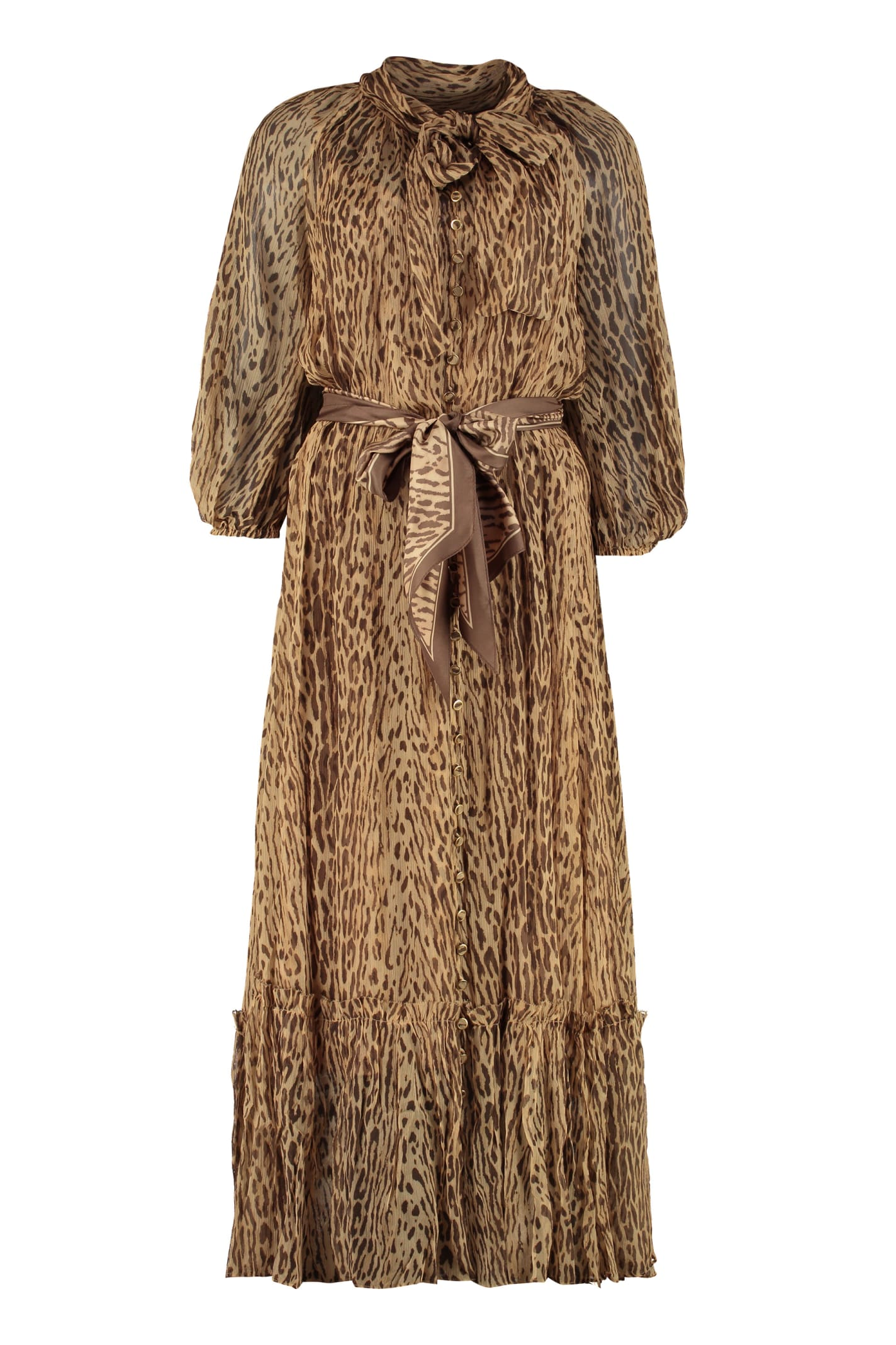Buy Zimmermann Espionage Long Silk Dress With Ruffle online, shop Zimmermann with free shipping