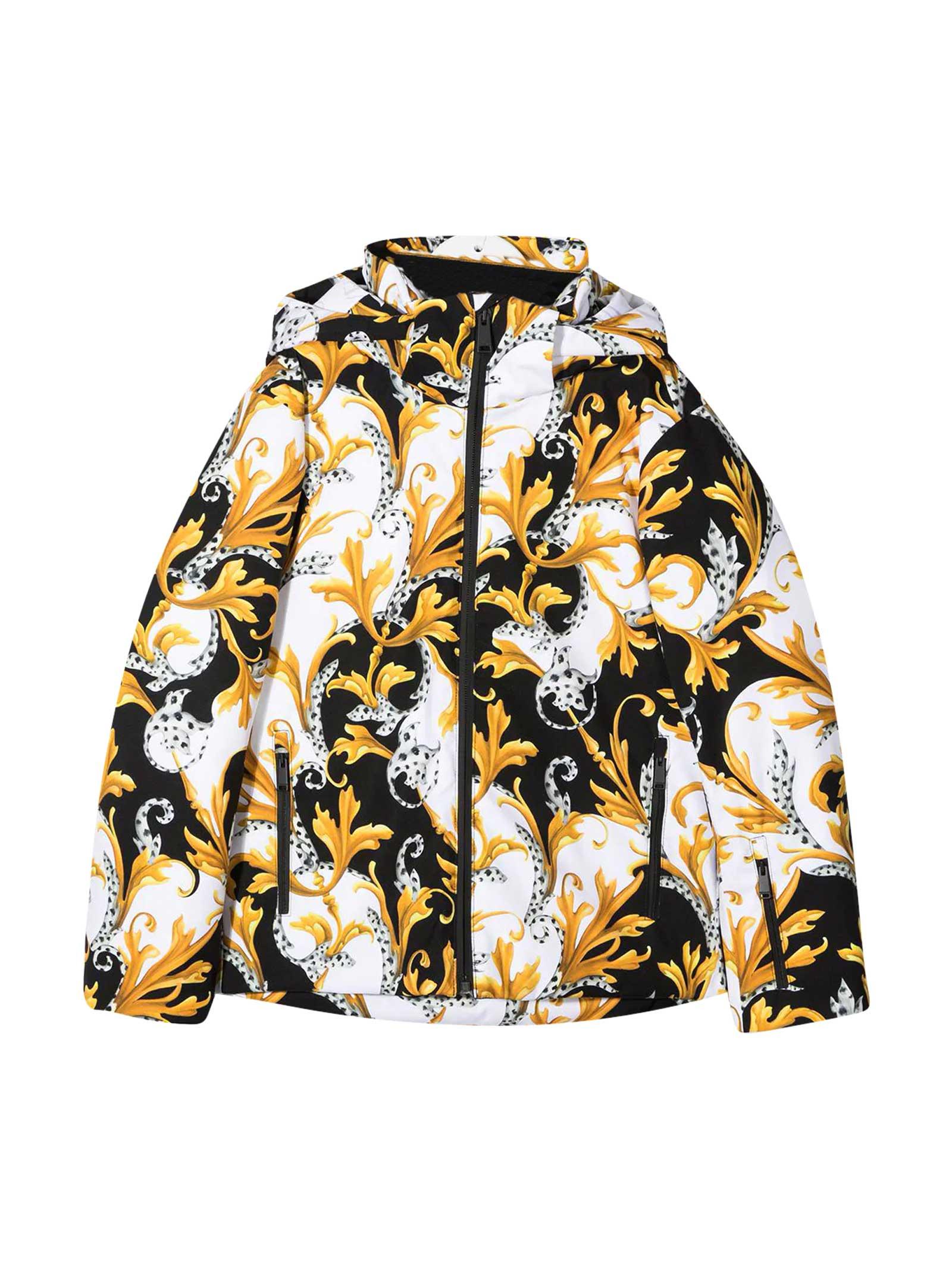 Young Versace Fantasy Teen Down Jacket In Multicolor