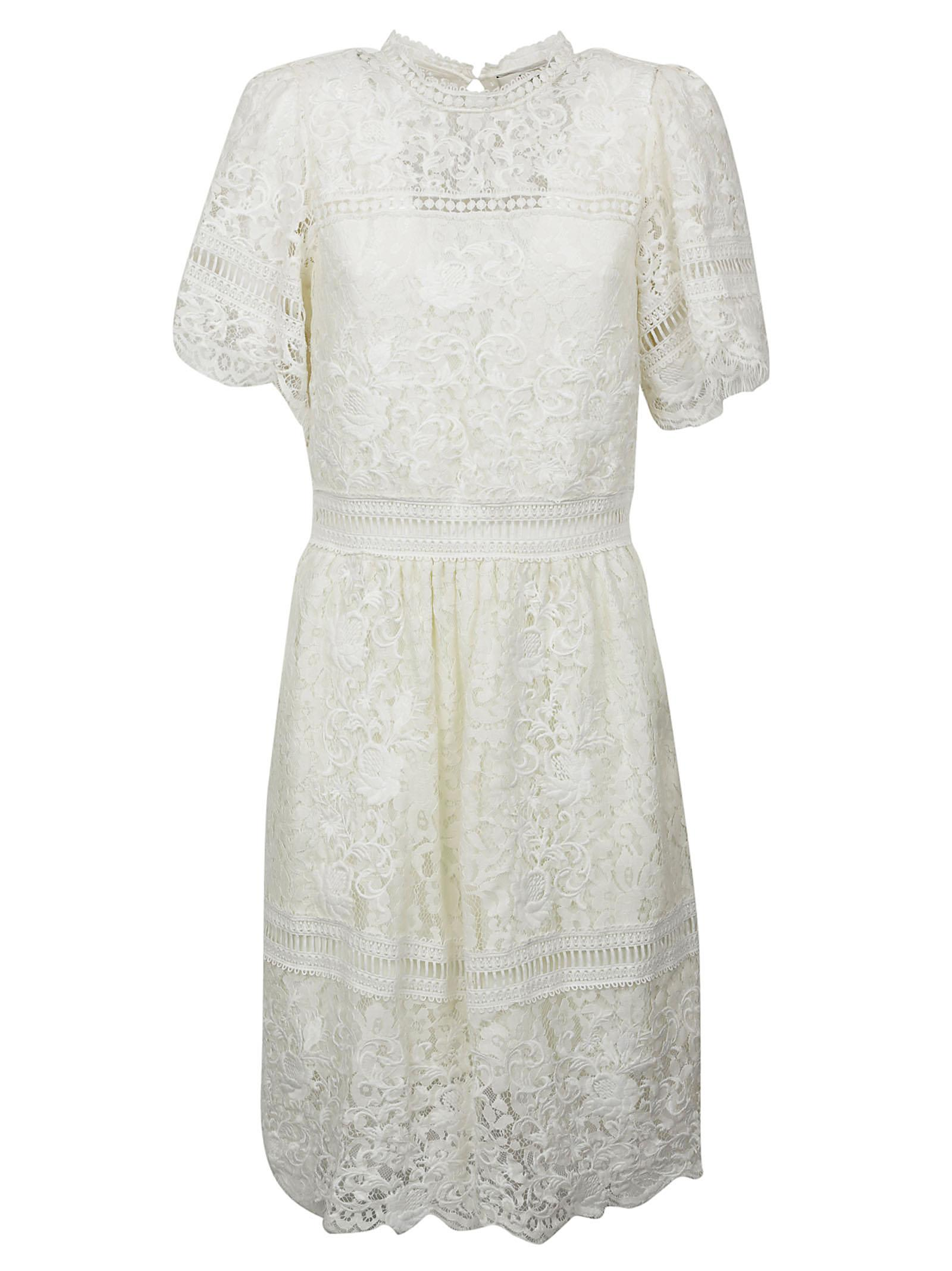 Buy Sea Puff Sleeved Embroidered Lace Dress online, shop Sea with free shipping