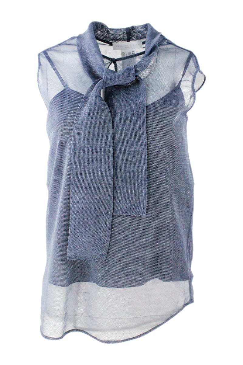 Fabiana Filippi SLEEVELESS TOP IN DENIM TULLE WITH FOULARD ON THE FRONT