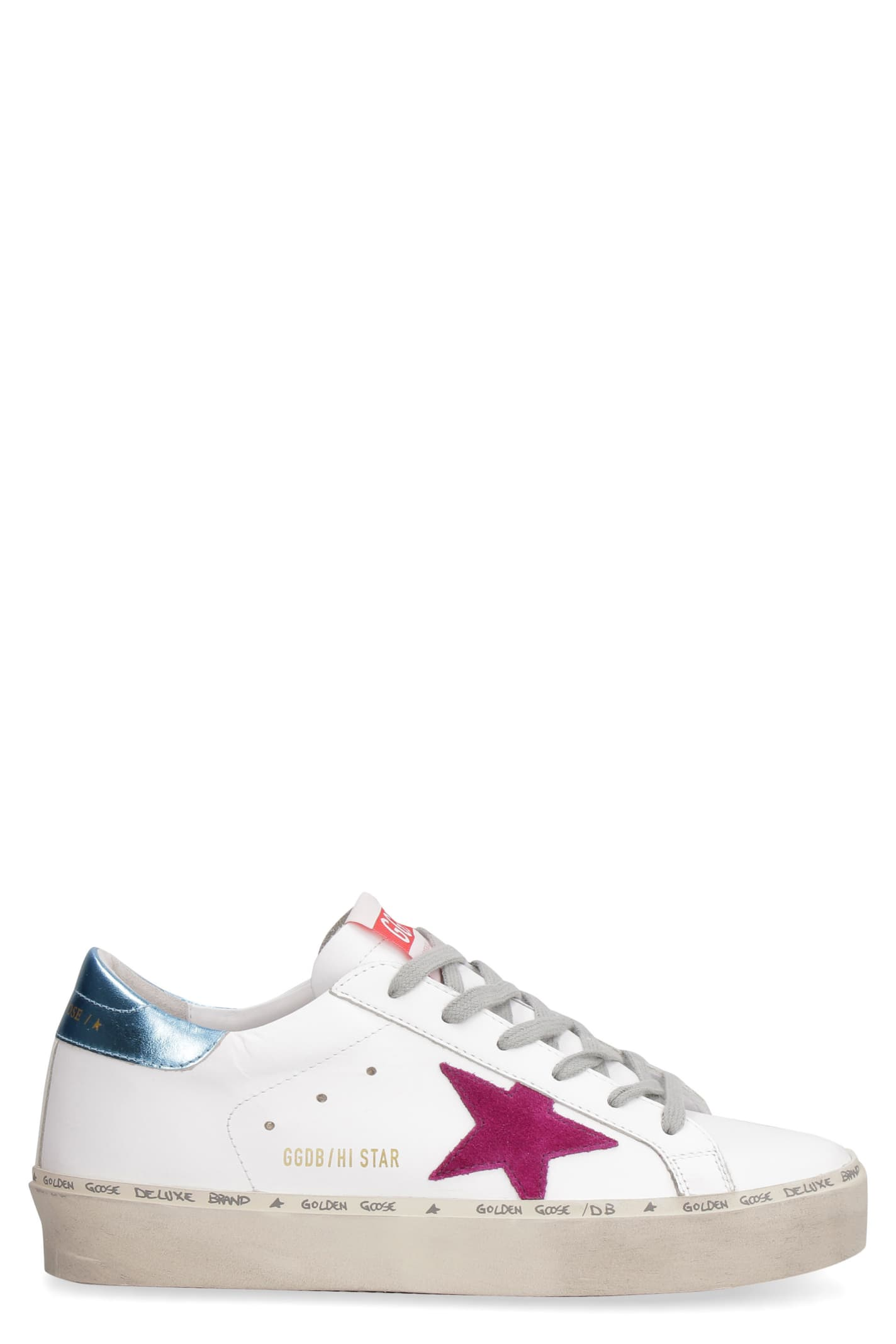 Buy Golden Goose Hi Star Leather Sneakers online, shop Golden Goose shoes with free shipping