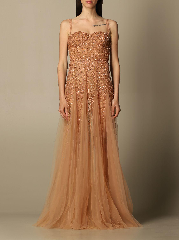 Buy Elisabetta Franchi Dress Elisabetta Franchi Long Dress In Tulle And Sequins online, shop Elisabetta Franchi with free shipping