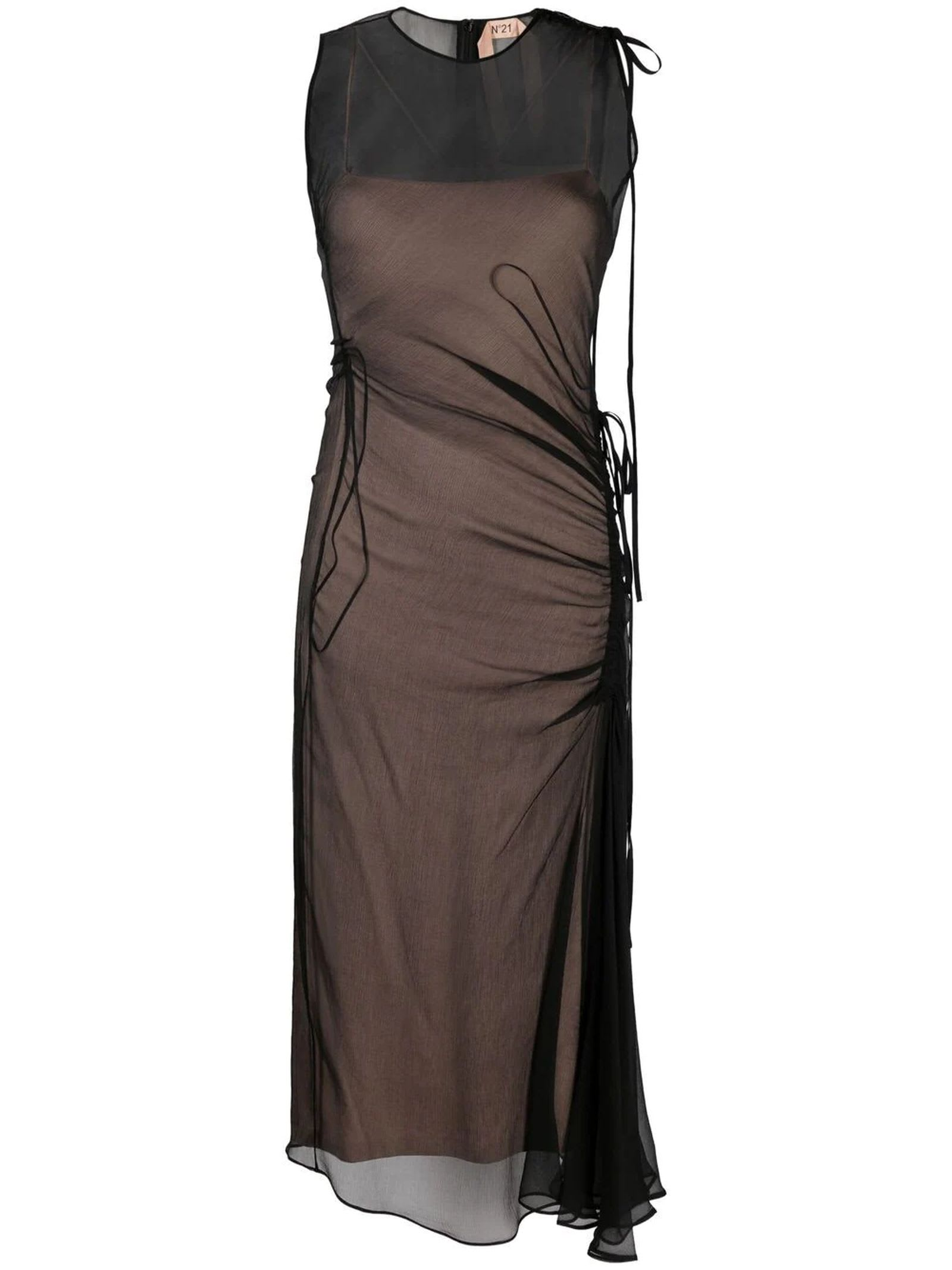 Buy N.21 Semi-sheer Ruched Dress online, shop N.21 with free shipping