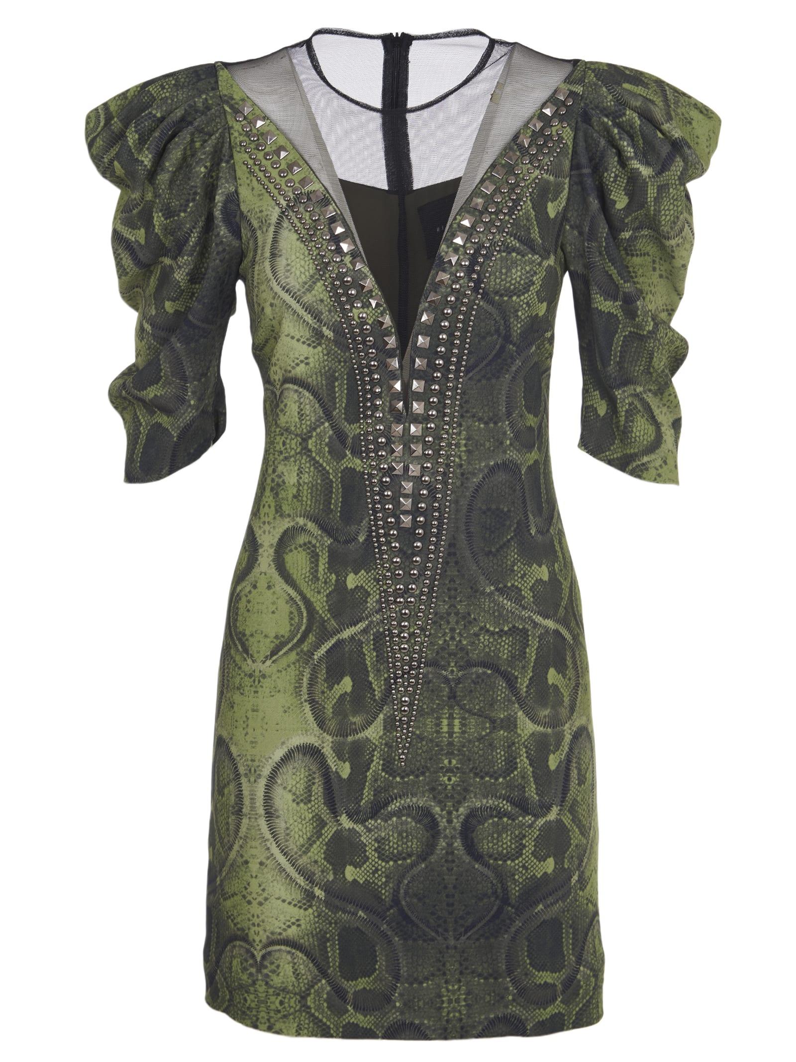 Buy John Richmond Green Pyton Print Dress online, shop John Richmond with free shipping