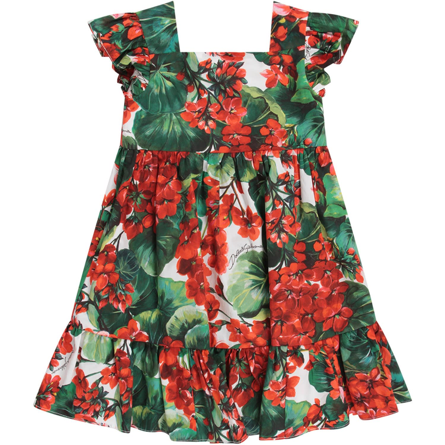 Dolce & Gabbana White Babygirl Dress With Red Geraniums