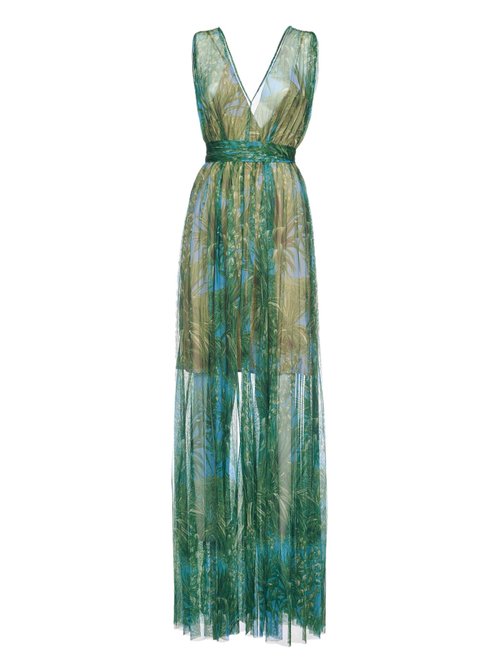 Msgm V-neck Palm Tree Dress