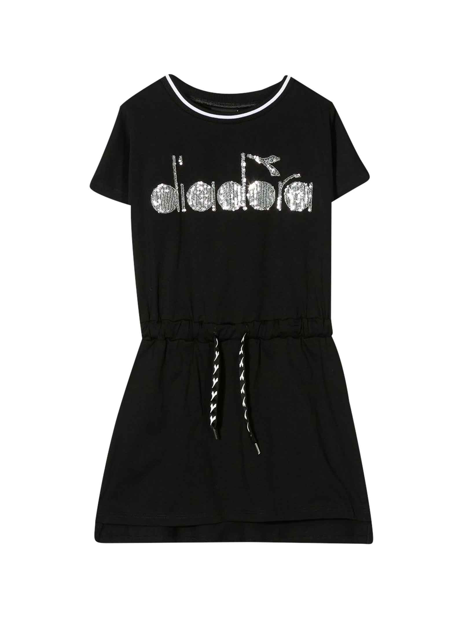 Buy Diadora Black Dress With Frontal Logo online, shop Diadora with free shipping