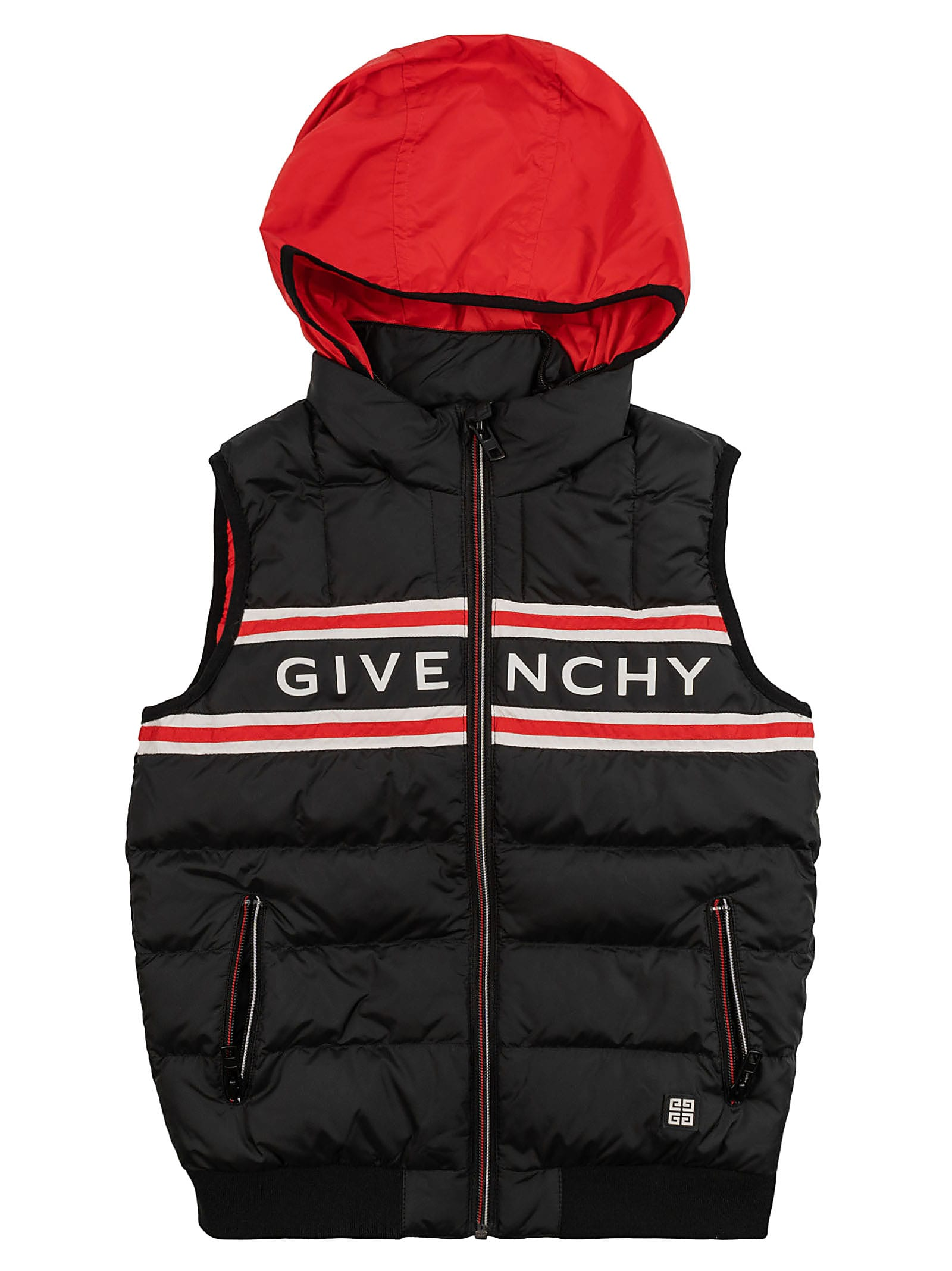 Givenchy Kids' Hooded Vest In Black/red