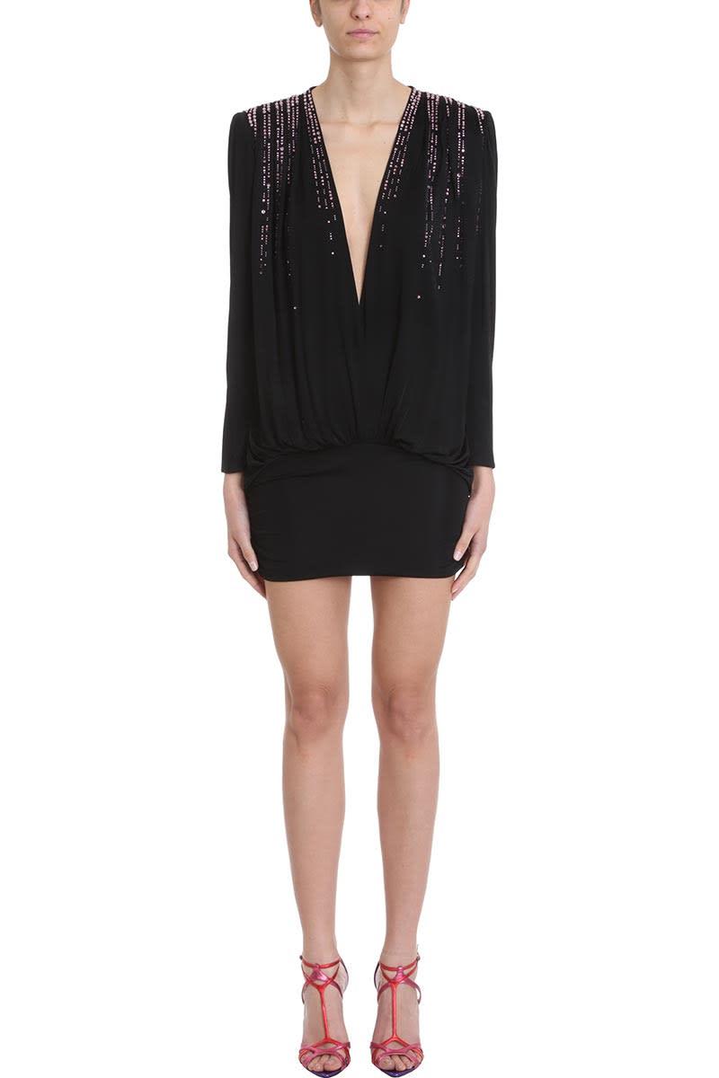 The Attico V-neck Crystal Embellished Mini Dress