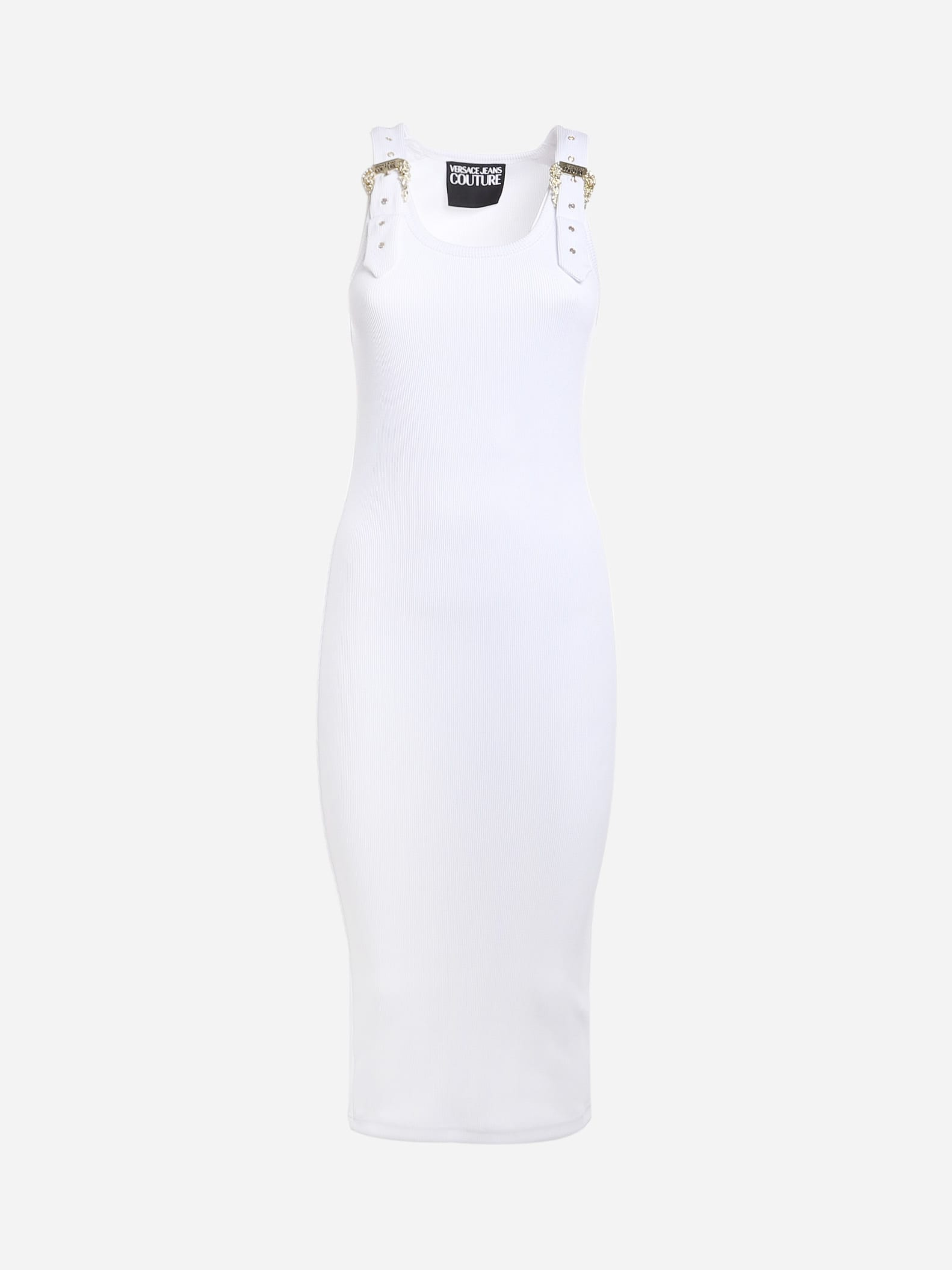 Buy Versace Jeans Couture Midi Dress With Buckle Detail online, shop Versace Jeans Couture with free shipping