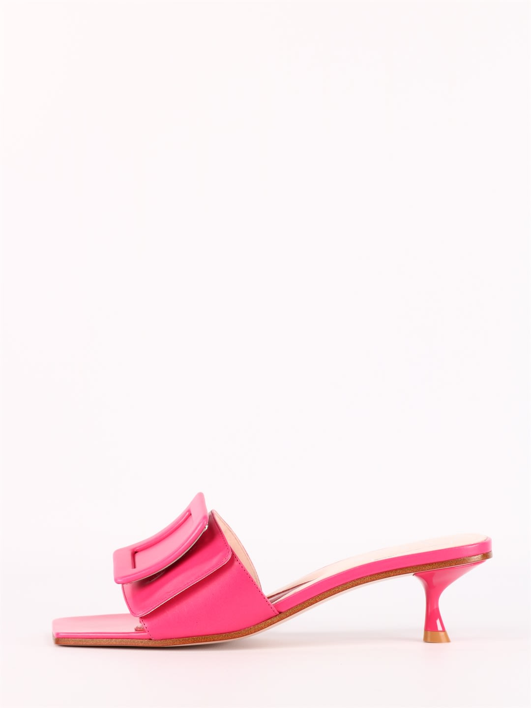 Roger Vivier Leathers PINK COVERED BUCKLE MULES