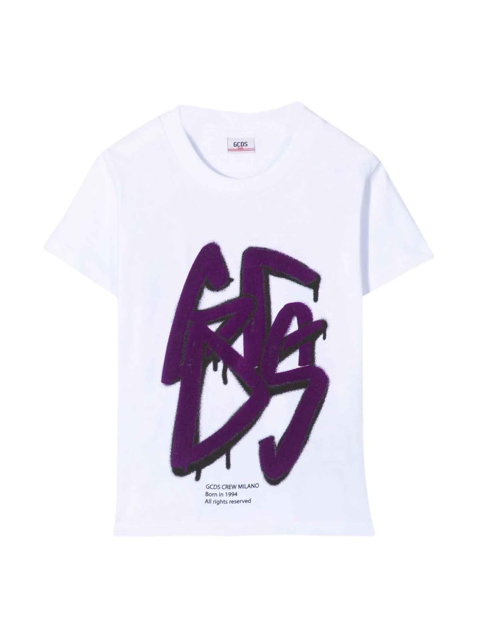 White Teen T-shirt With Purple Print