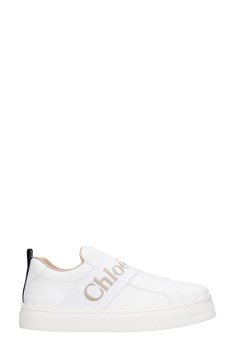 Chloé Leathers LAUREN STRAP SNEAKERS IN WHITE LEATHER