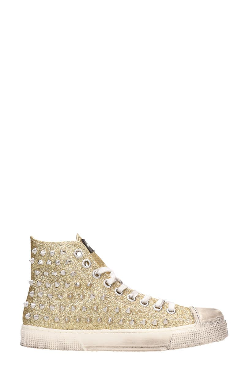 differently e10e2 2d5f4 Gienchi Gold Glitter Jean Michel Sneakers