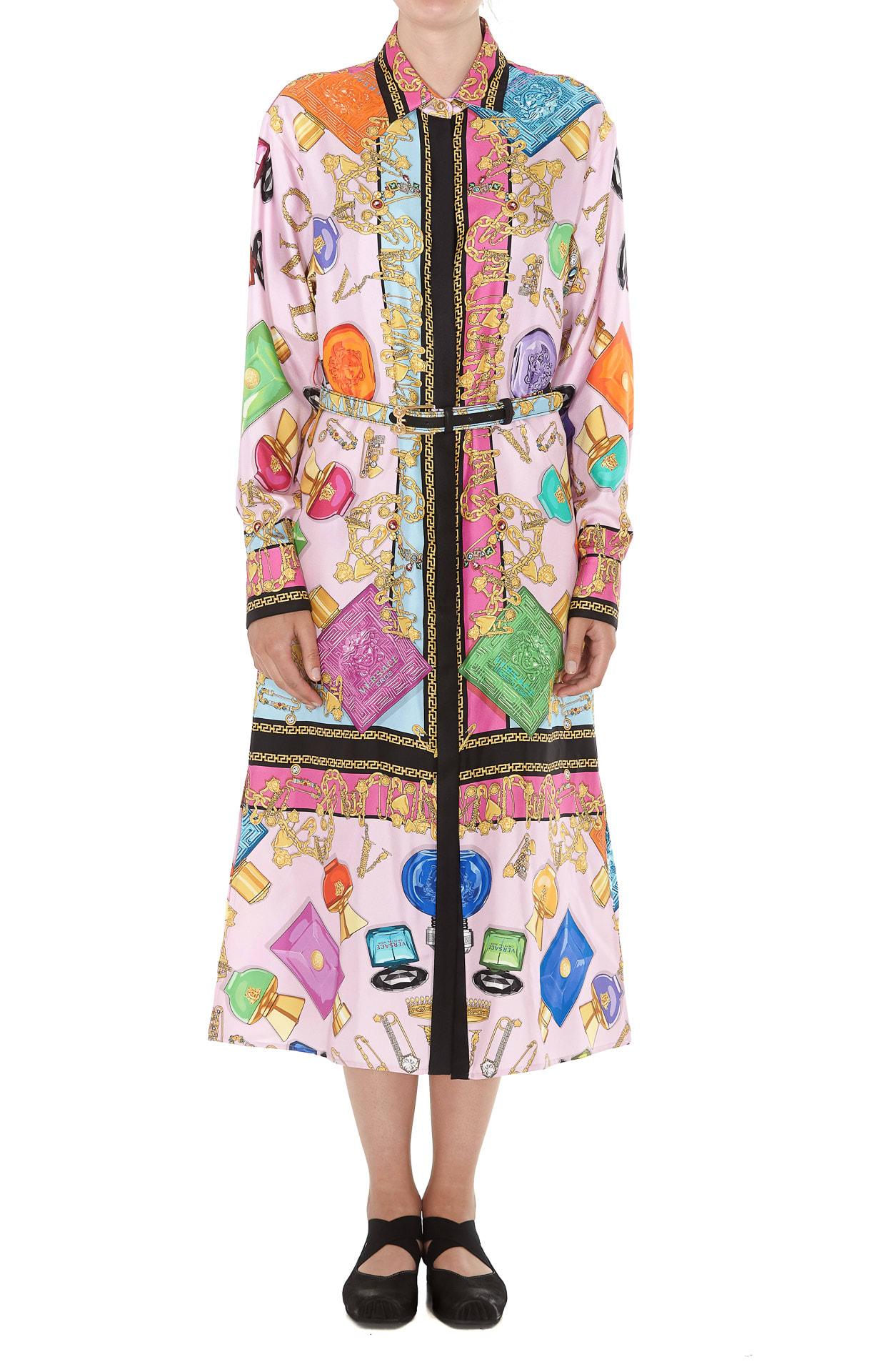 Versace Logo Silk Dress