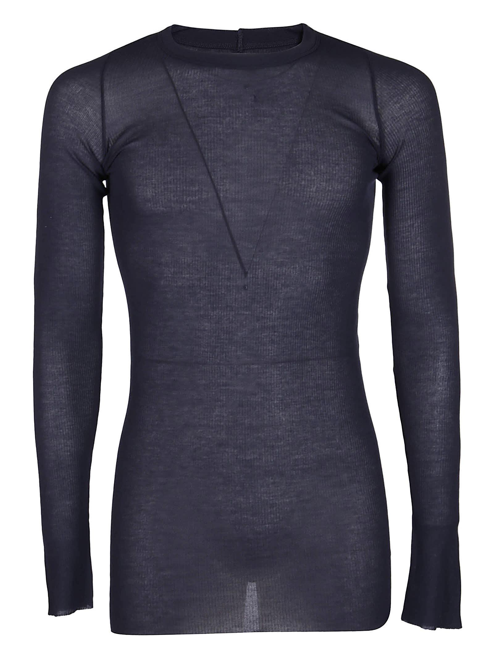 Rick Owens Black Silk-blend Long-sleeved T-shirt