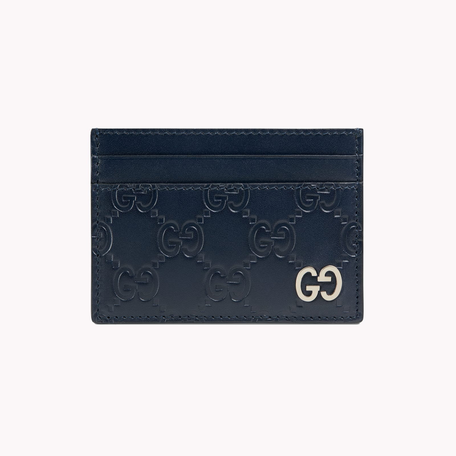 Gucci Signature blue leather card holder