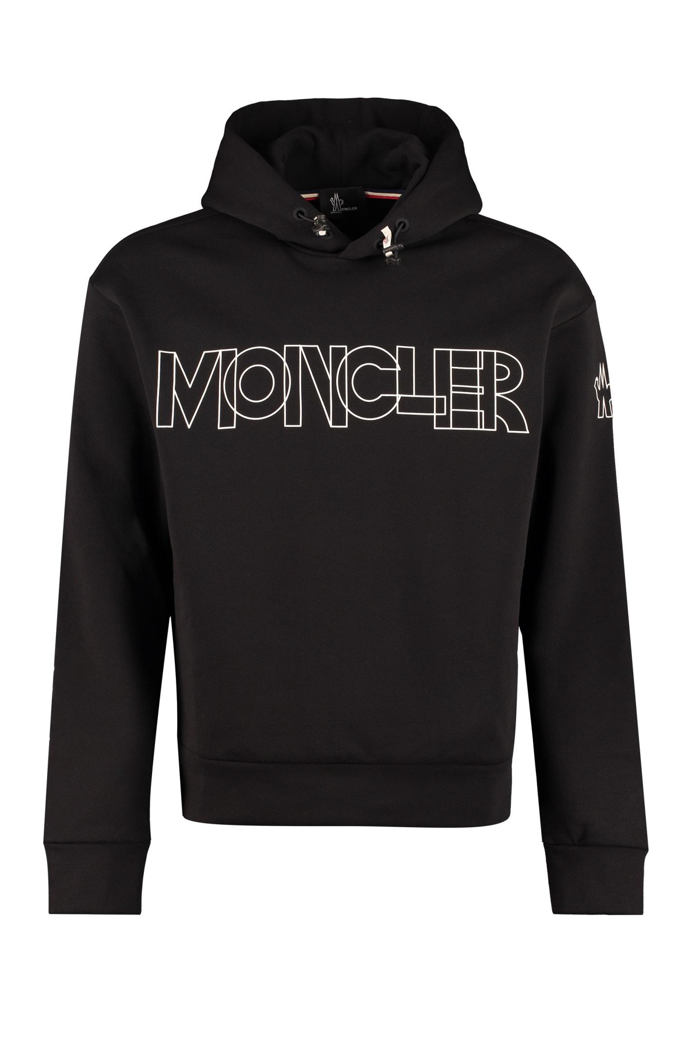 Moncler Grenoble Printed Hoodie In Black