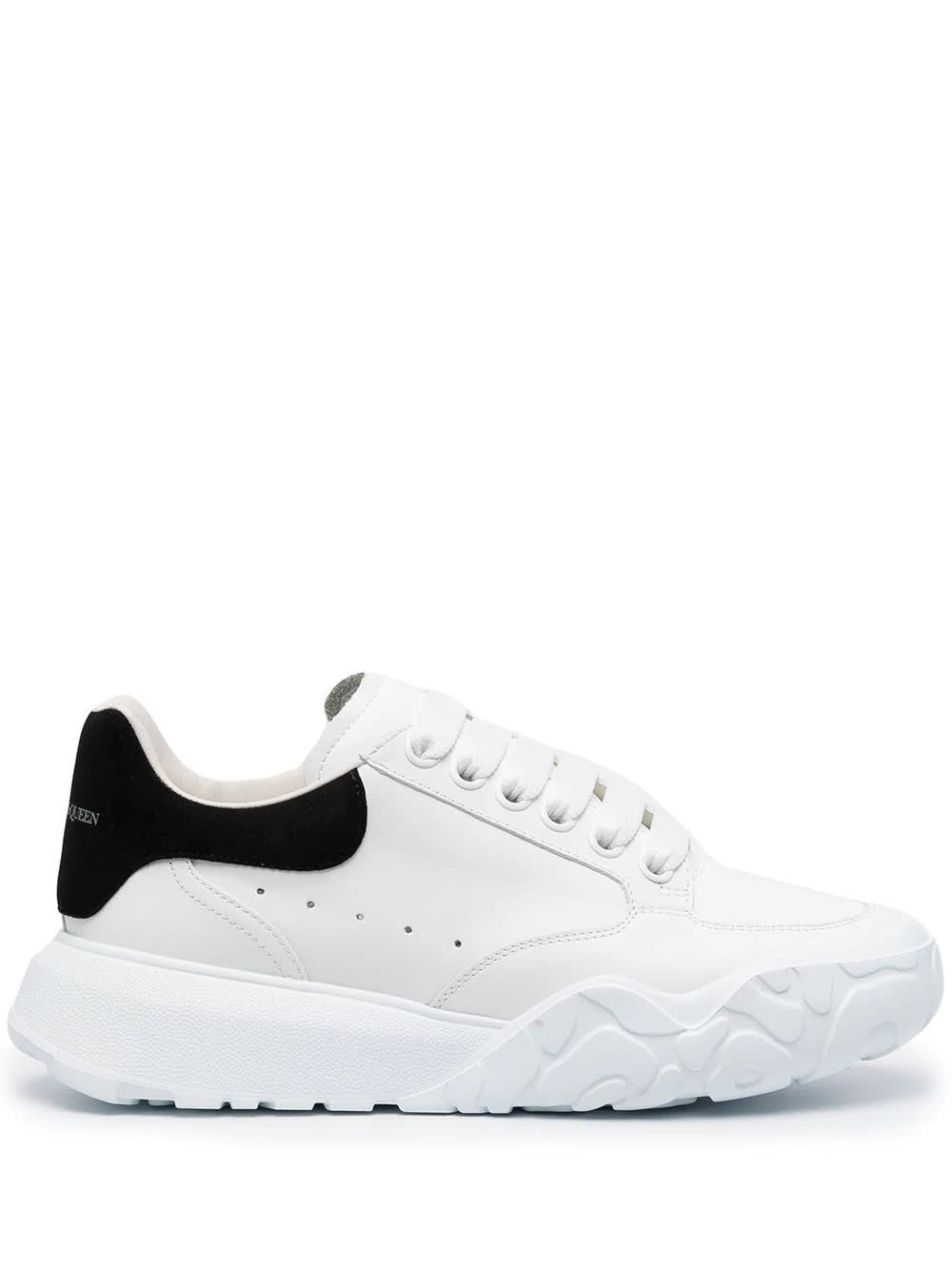 Alexander McQueen Woman White And Black Trainer Court Oversize Sneakers