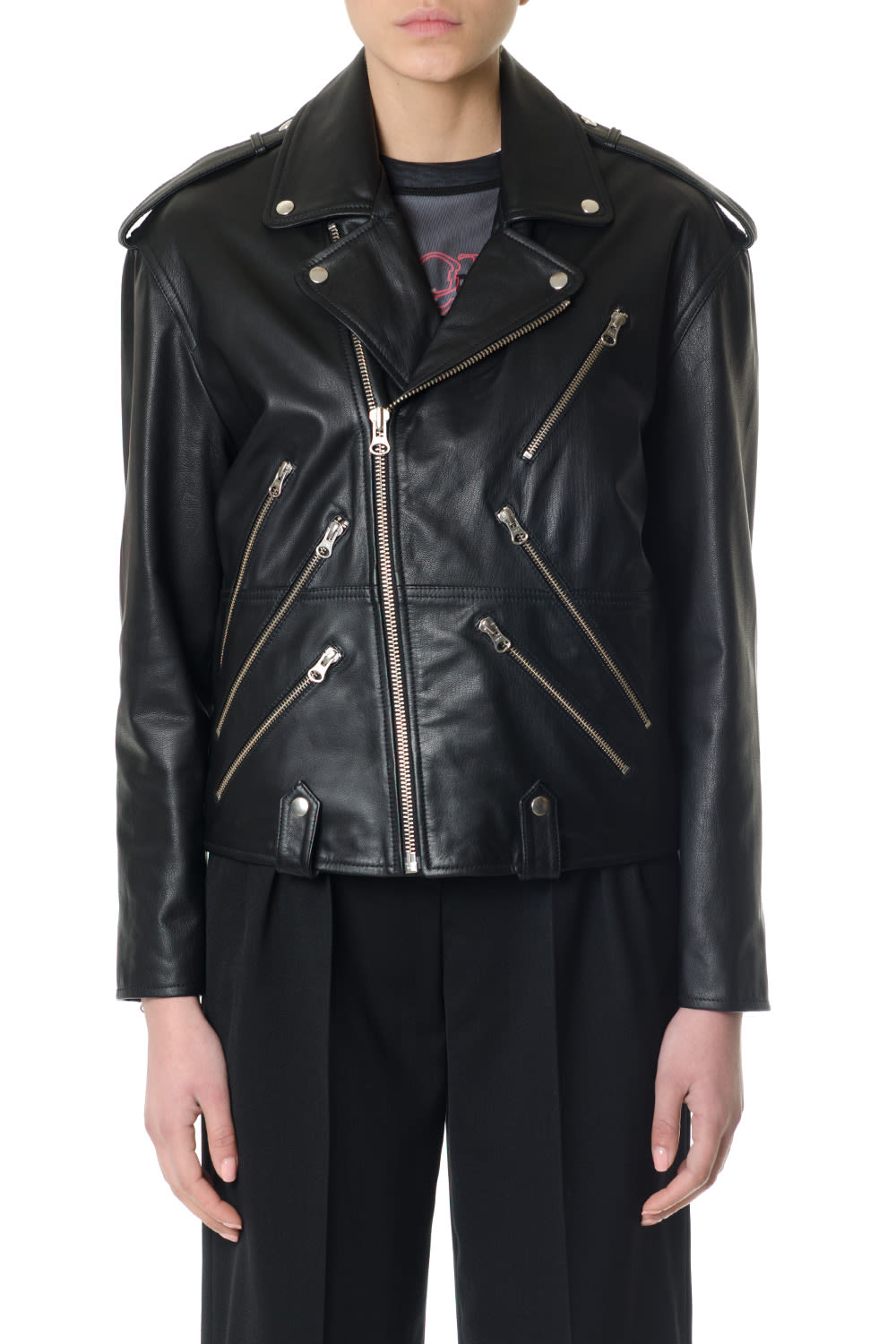 McQ Alexander McQueen Zipped Black Leather Biker Jacket