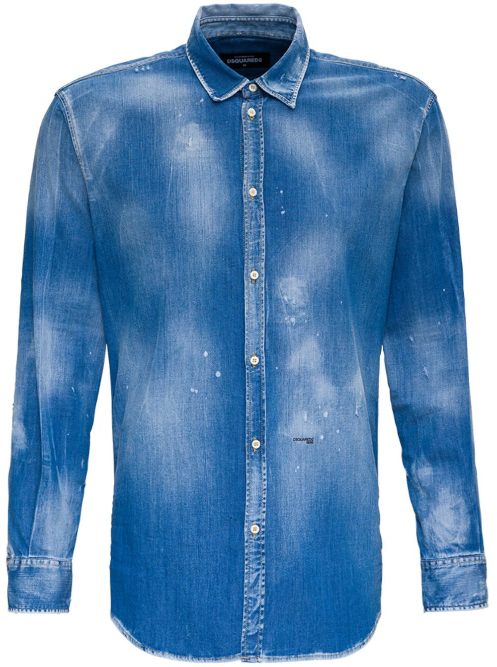 Dsquared2 Denim Shirt With Paint Splatters Detail In Blu