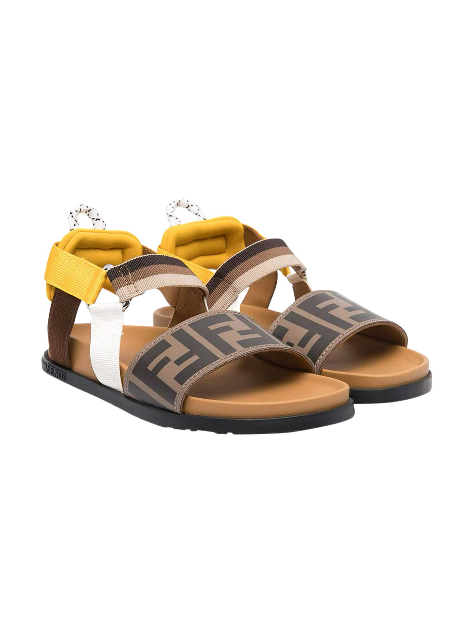 Fendi Leathers SANDALS WITH LOGO TEXTURE