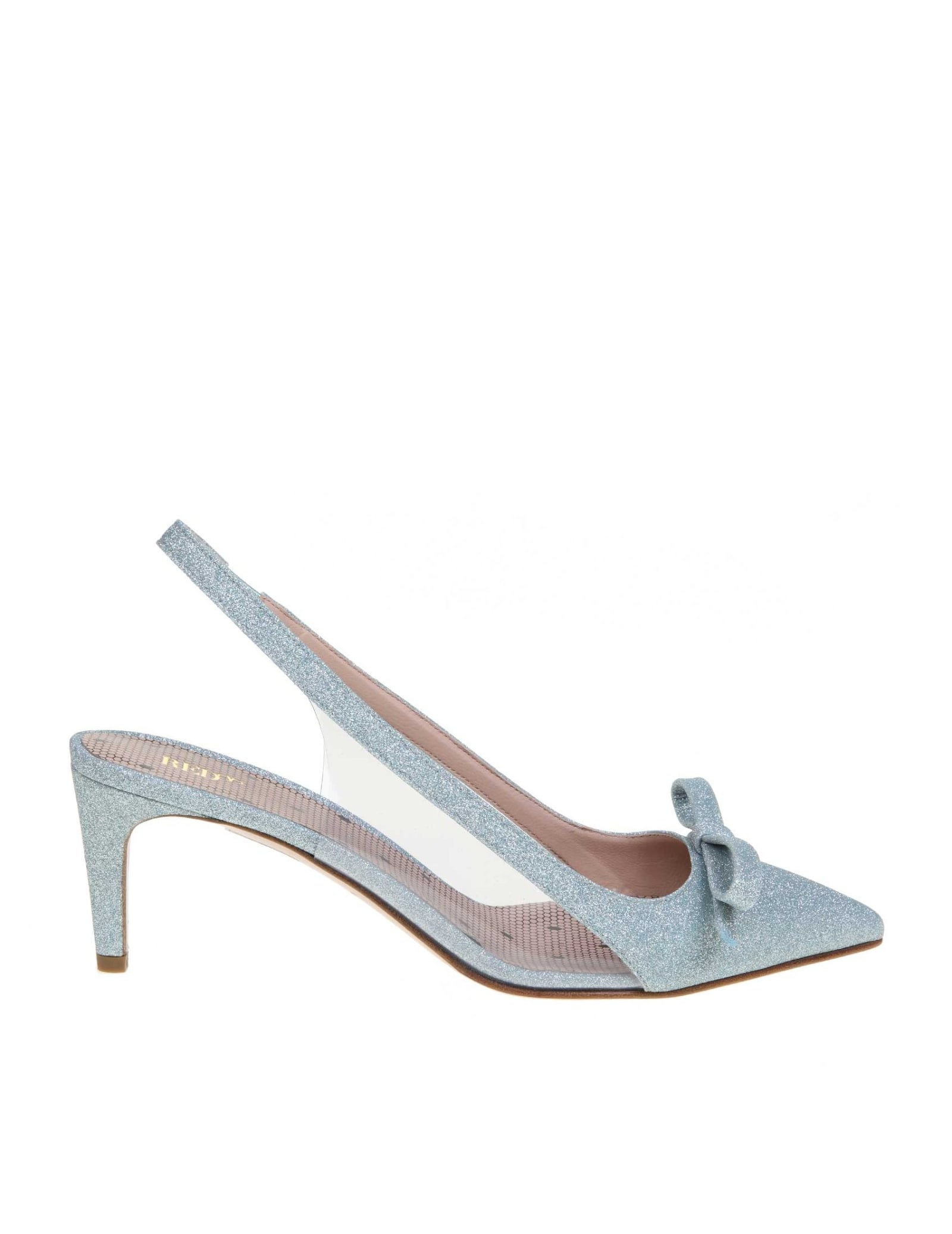 Slingback in glittered leather light blue colour pvc details pointed model decorative bow insole with polka dot pattern leather interior leather sole heel height 6 cm made in italy
