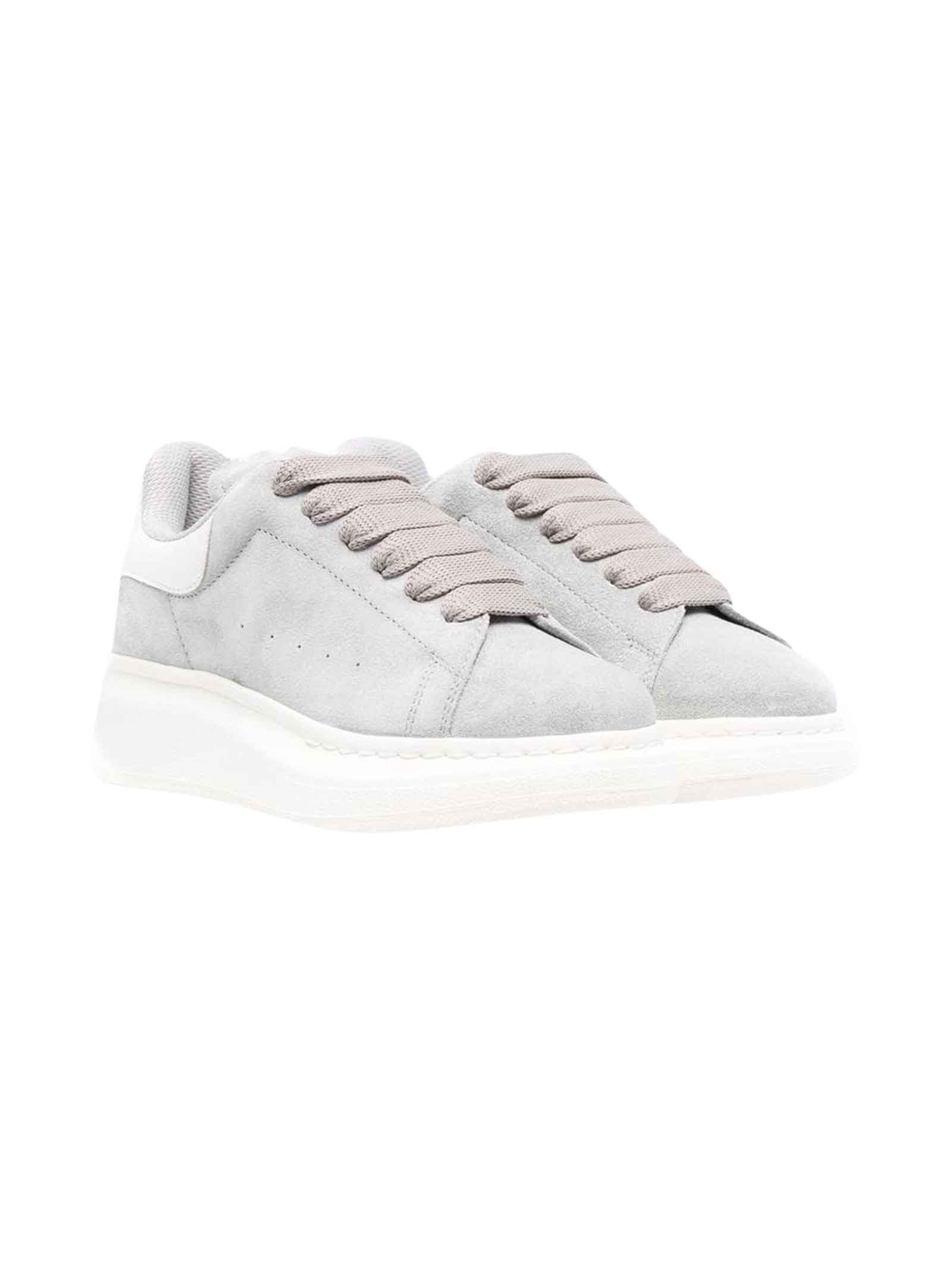Alexander McQueen Grey Sneakers With Higher Sole, Logo, Round Tip And Frontal Lace Closure Kids