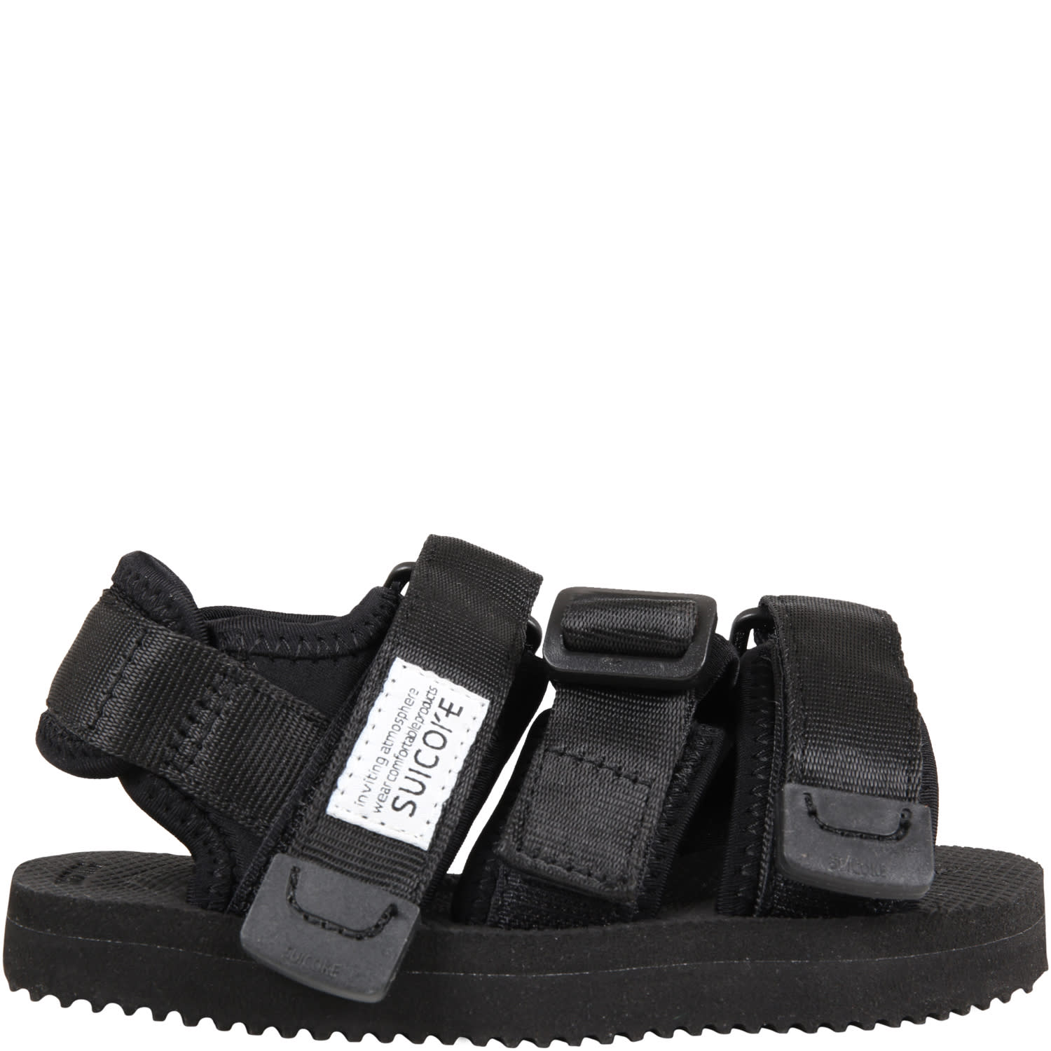 Suicoke Black Kisee Sandals For Kids With Logo