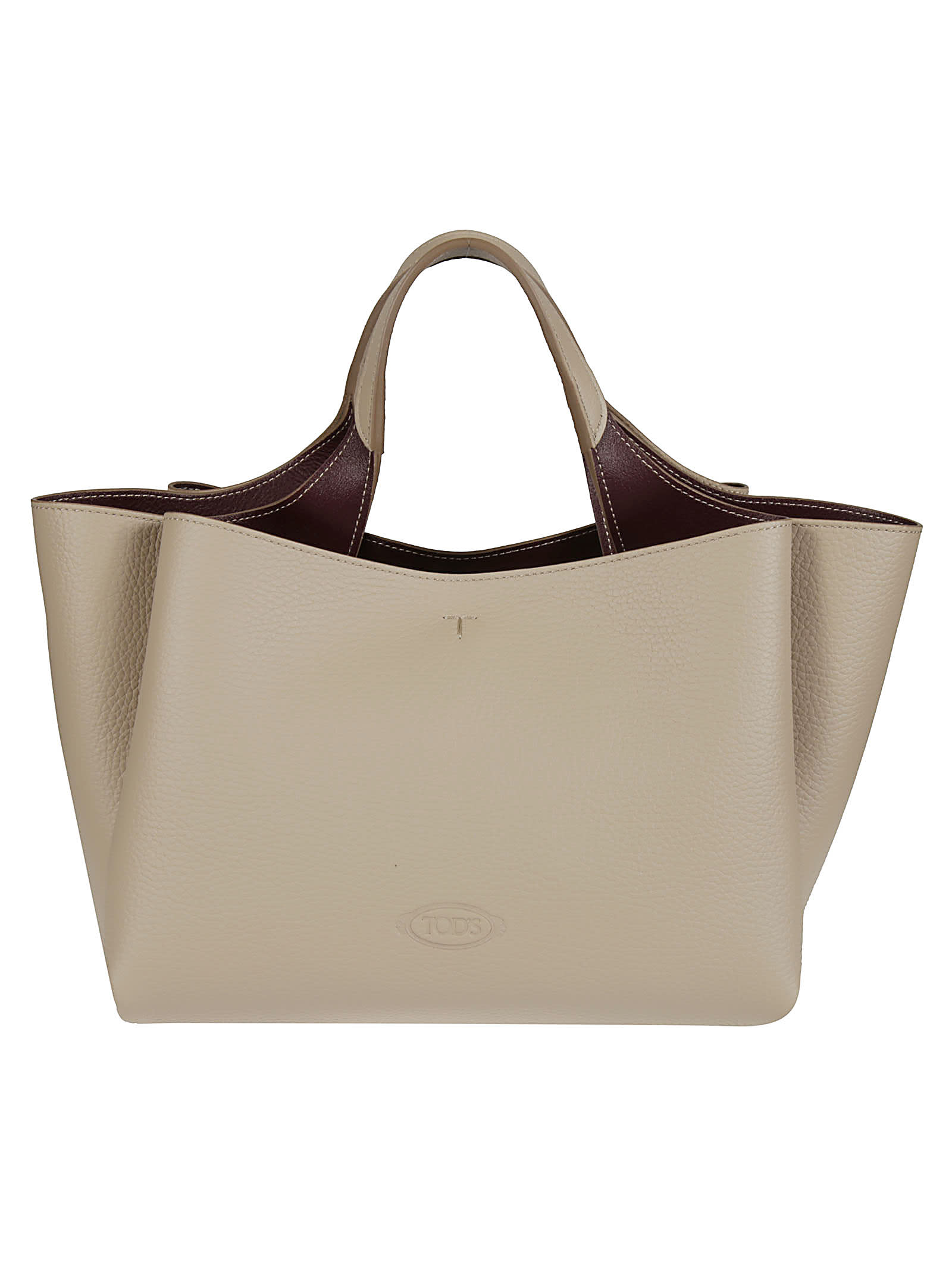 Tod's Florida Double Tote In Sasso/bordeaux