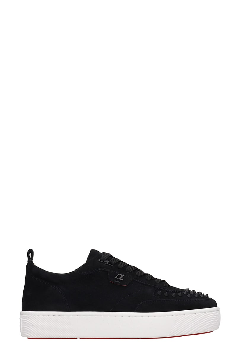 Happyrui spikes Sneakers in black suede, laces, studs details on toe, pull tab on backside, oversize rubber outsoleComposition: Suede