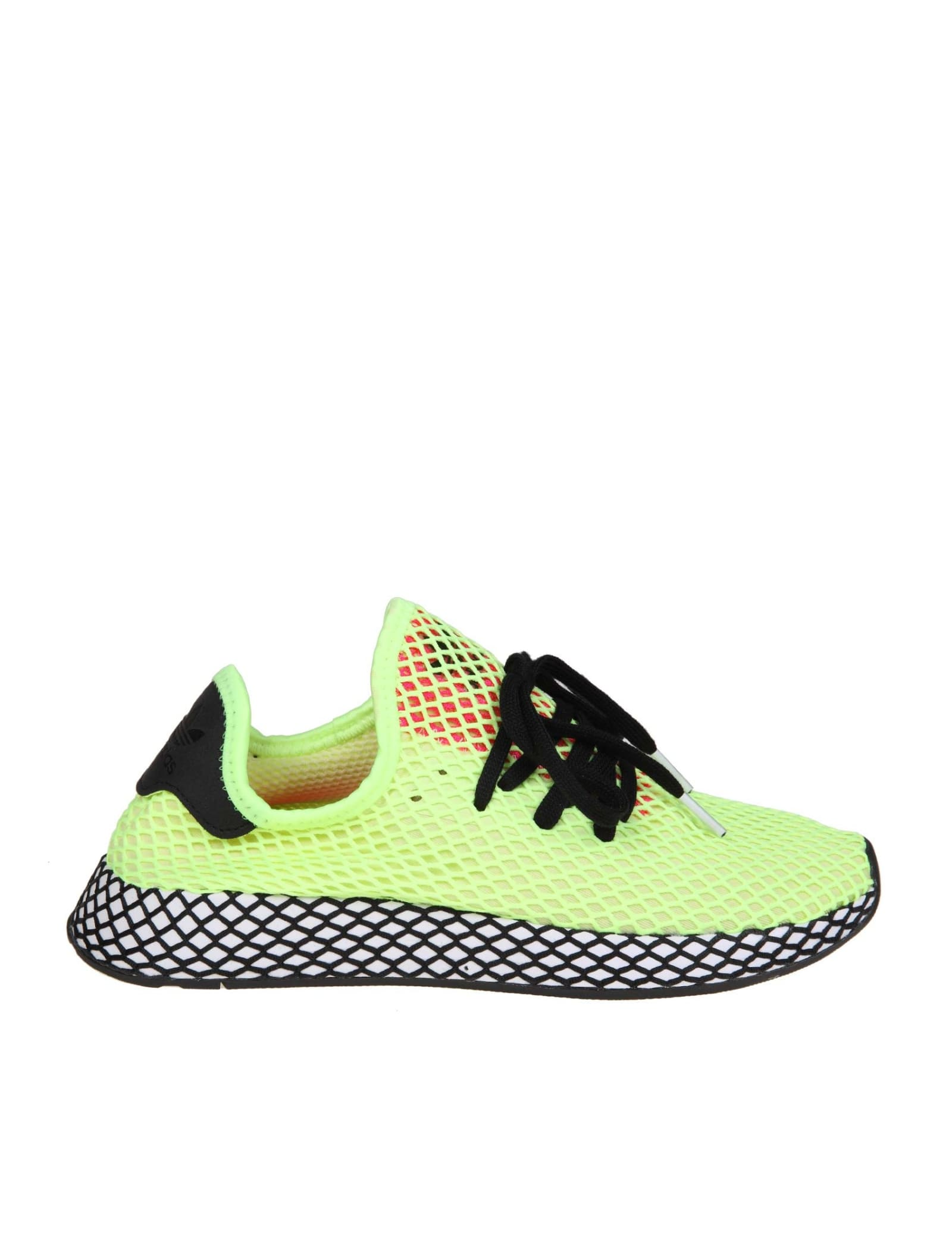 Adidas Sneakers Deerupt Runner In Stretch Fabric Yellow Fluo